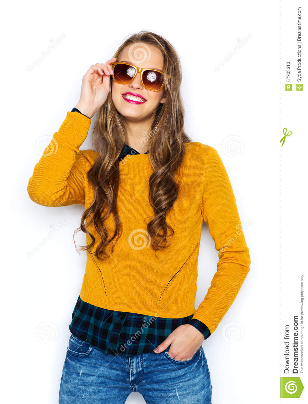 Happy Young Woman Or Teen Girl In Casual Clothes Stock Photo Image 67903310