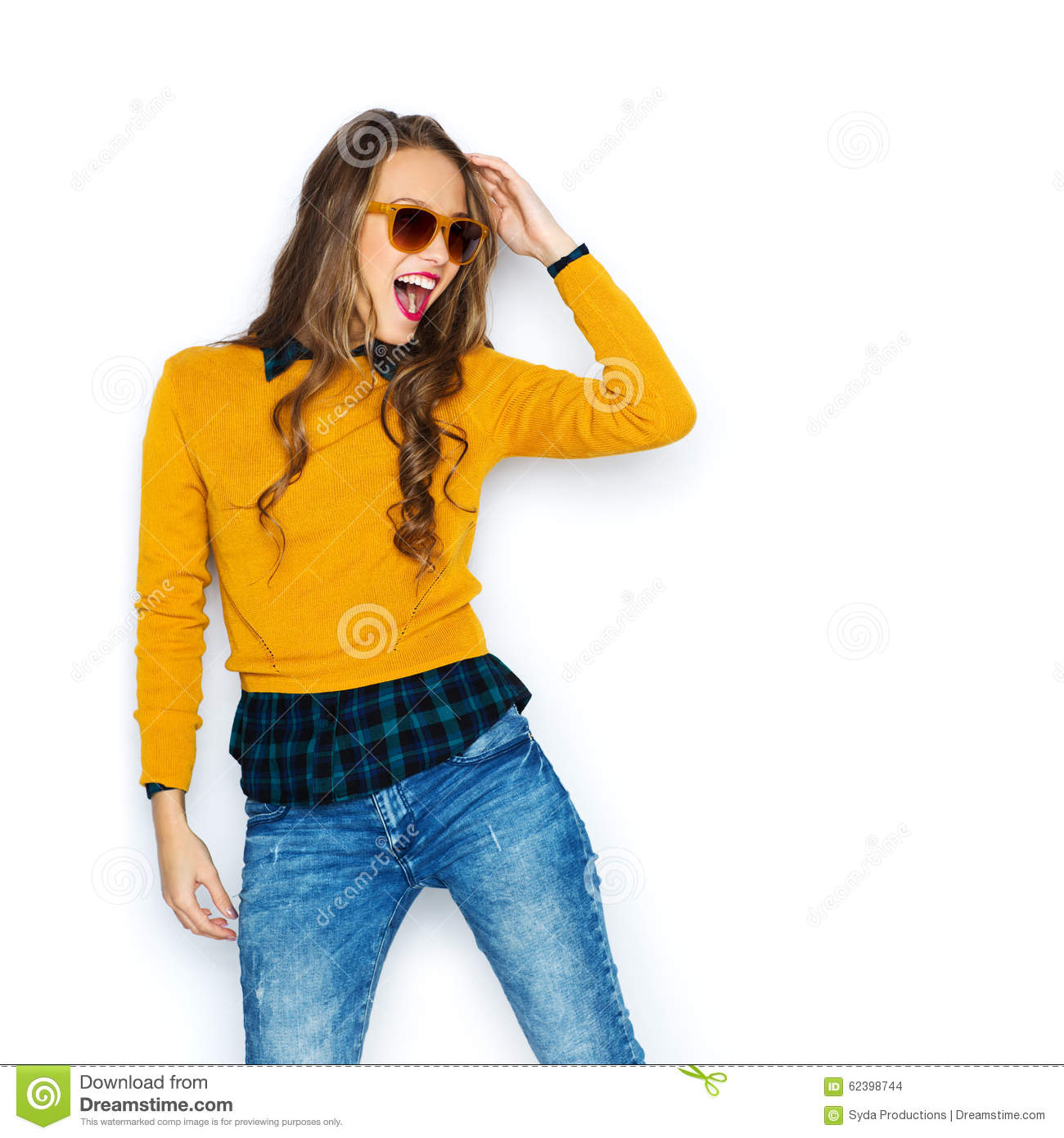 Happy Young Woman Or Teen Girl In Casual Clothes Stock Photo Image 62398744