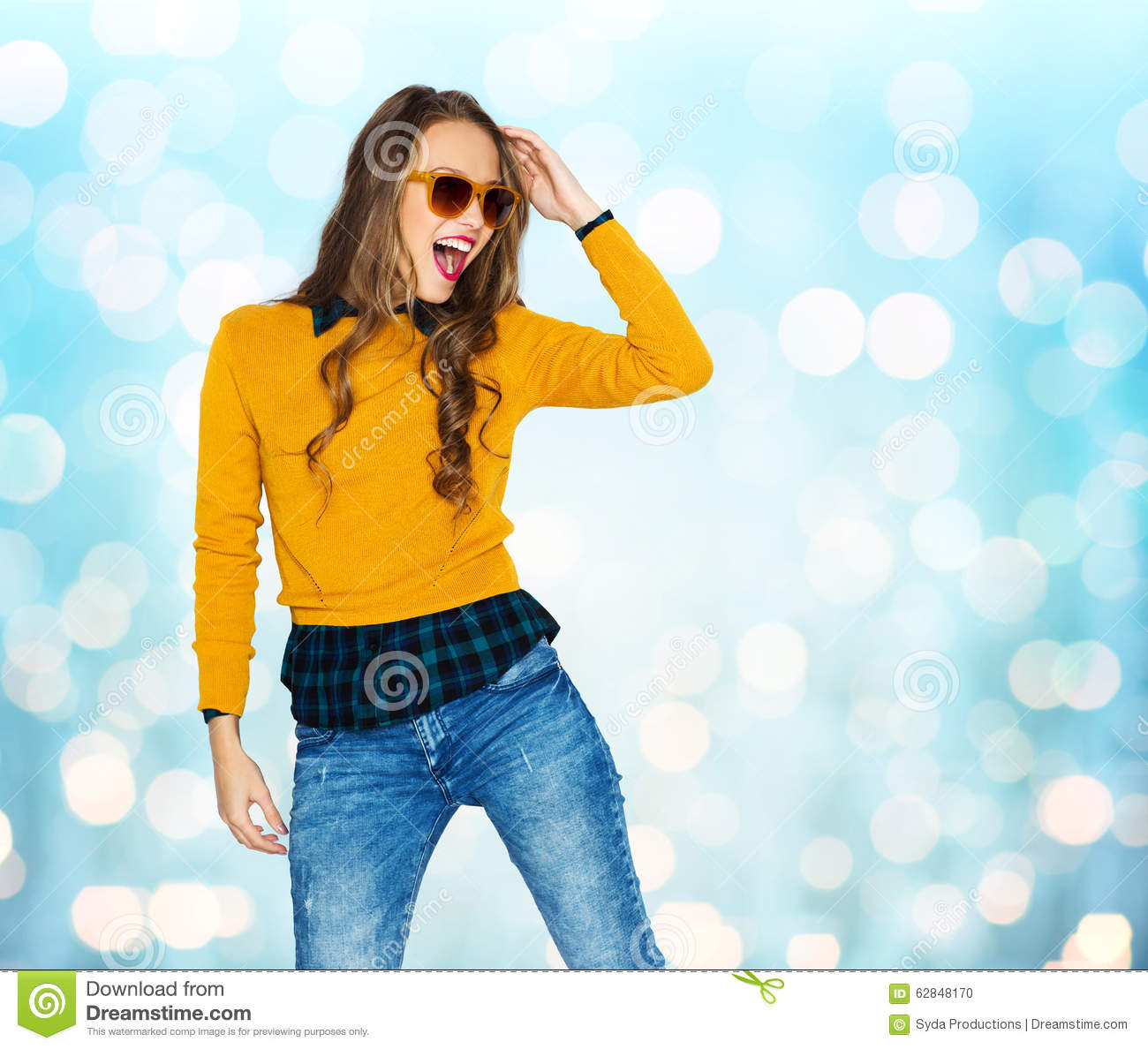 Happy Young Woman Or Teen Girl In Casual Clothes Stock Photo Image 62848170