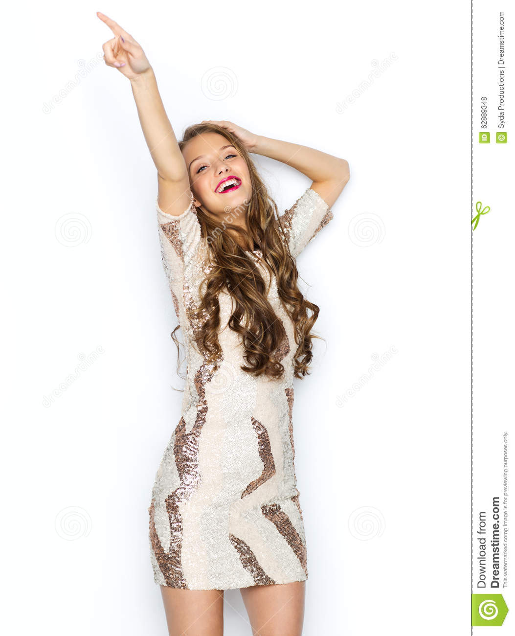 Happy Young Woman Or Teen Girl In Fancy Dress Stock Photo Image 62889348
