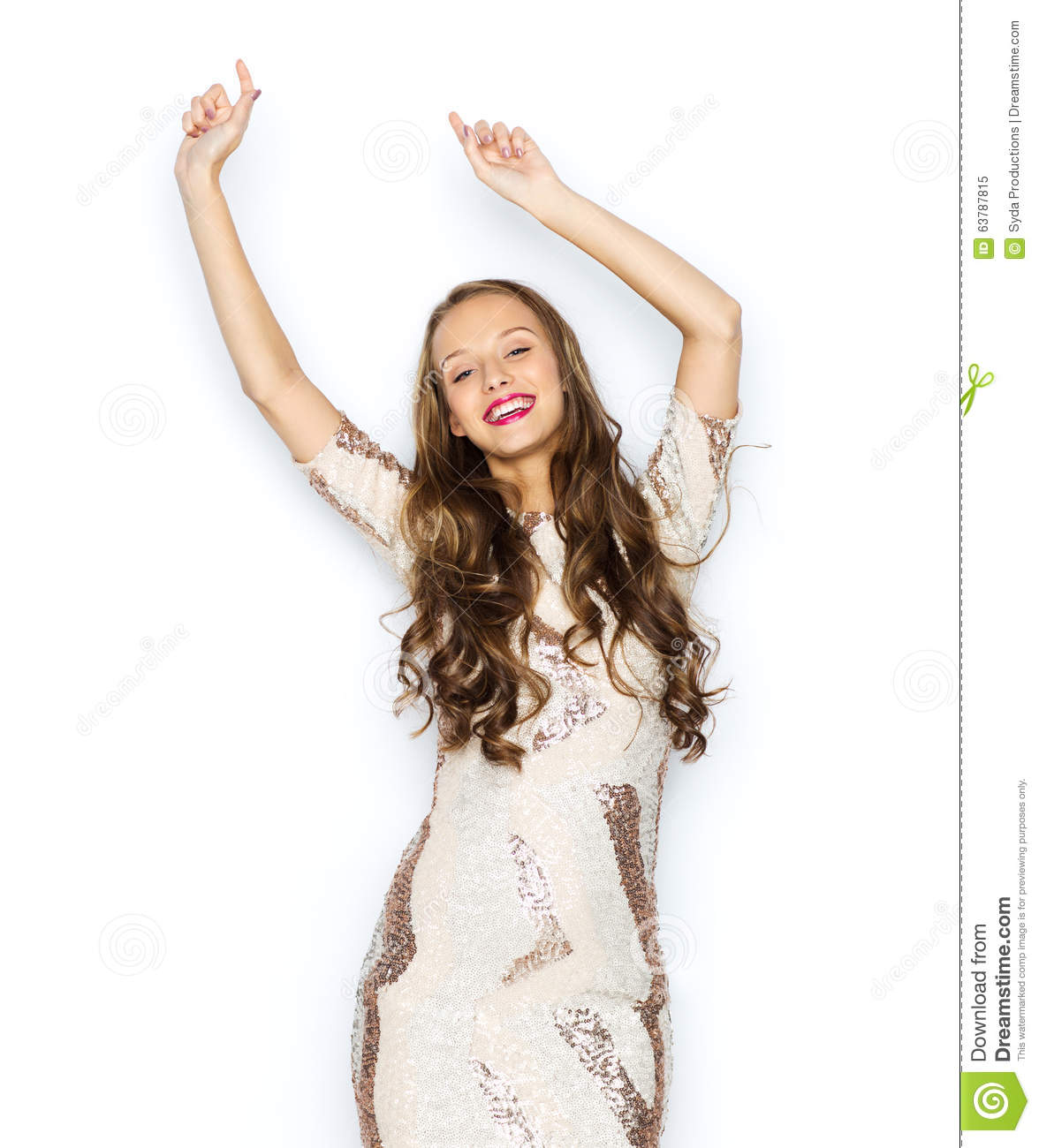 Happy Young Woman Or Teen Girl In Fancy Dress Stock Photo Image 63787815