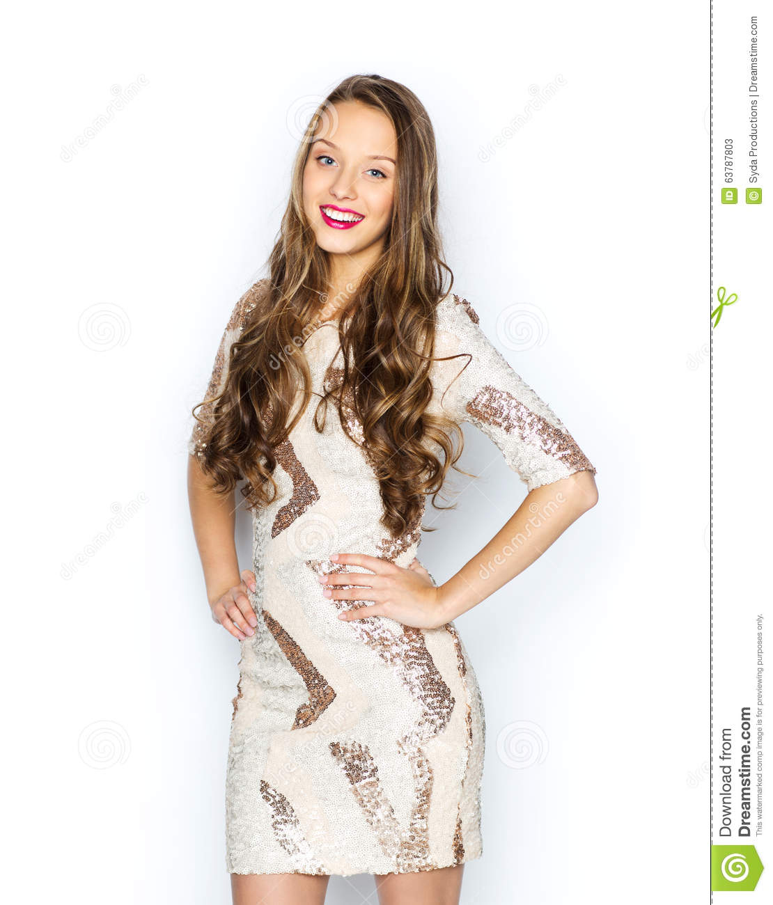 Happy Young Woman Or Teen Girl In Fancy Dress Stock Photo Image 63787803