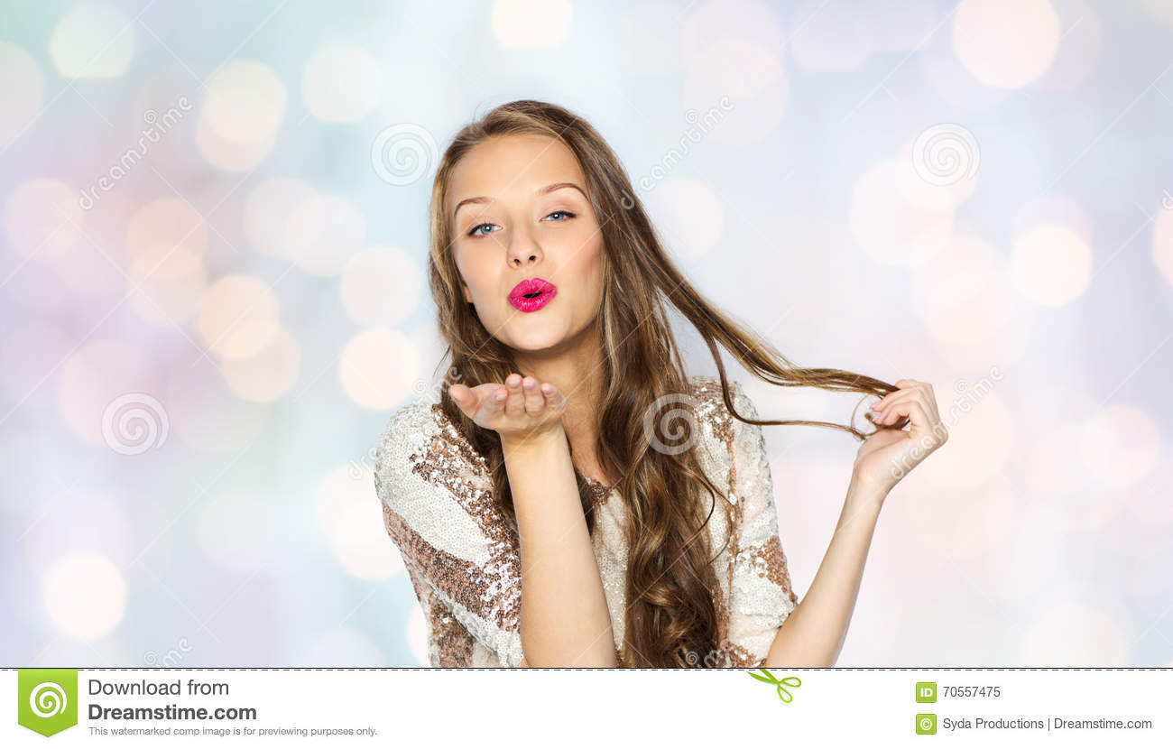 Happy Young Woman Or Teen Girl In Fancy Dress Stock Photo Image 70557475