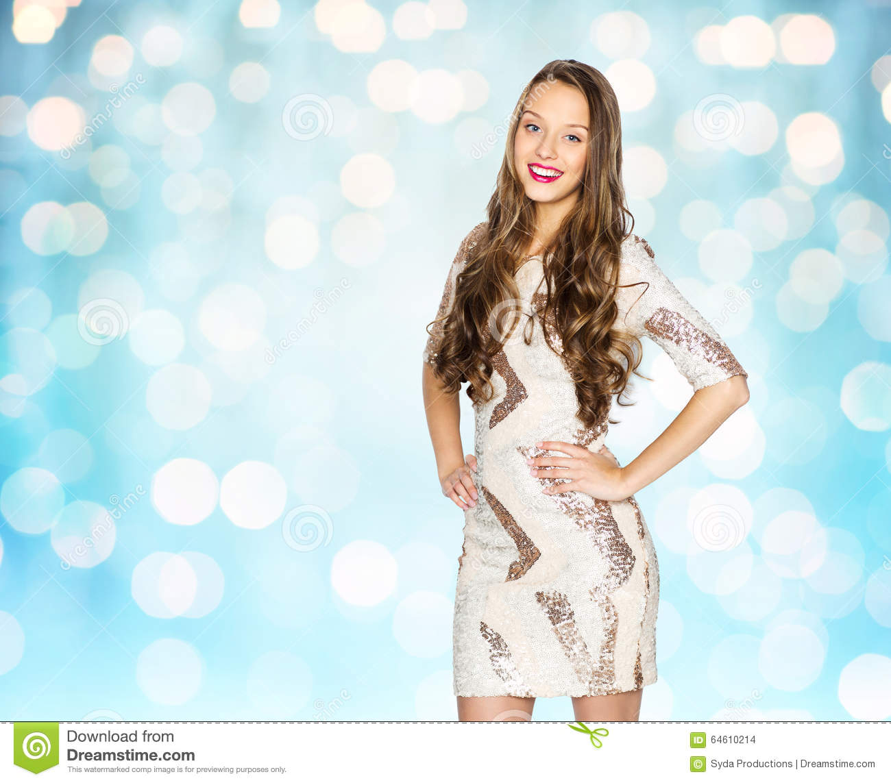 Happy Young Woman Or Teen Girl Over Blue Lights Stock Photo Image