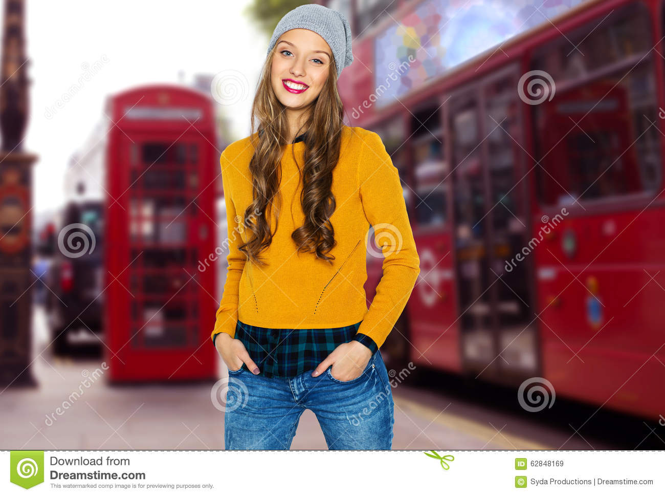 Happy Young Woman Or Teen Over London City Street Stock Image Image 62848169