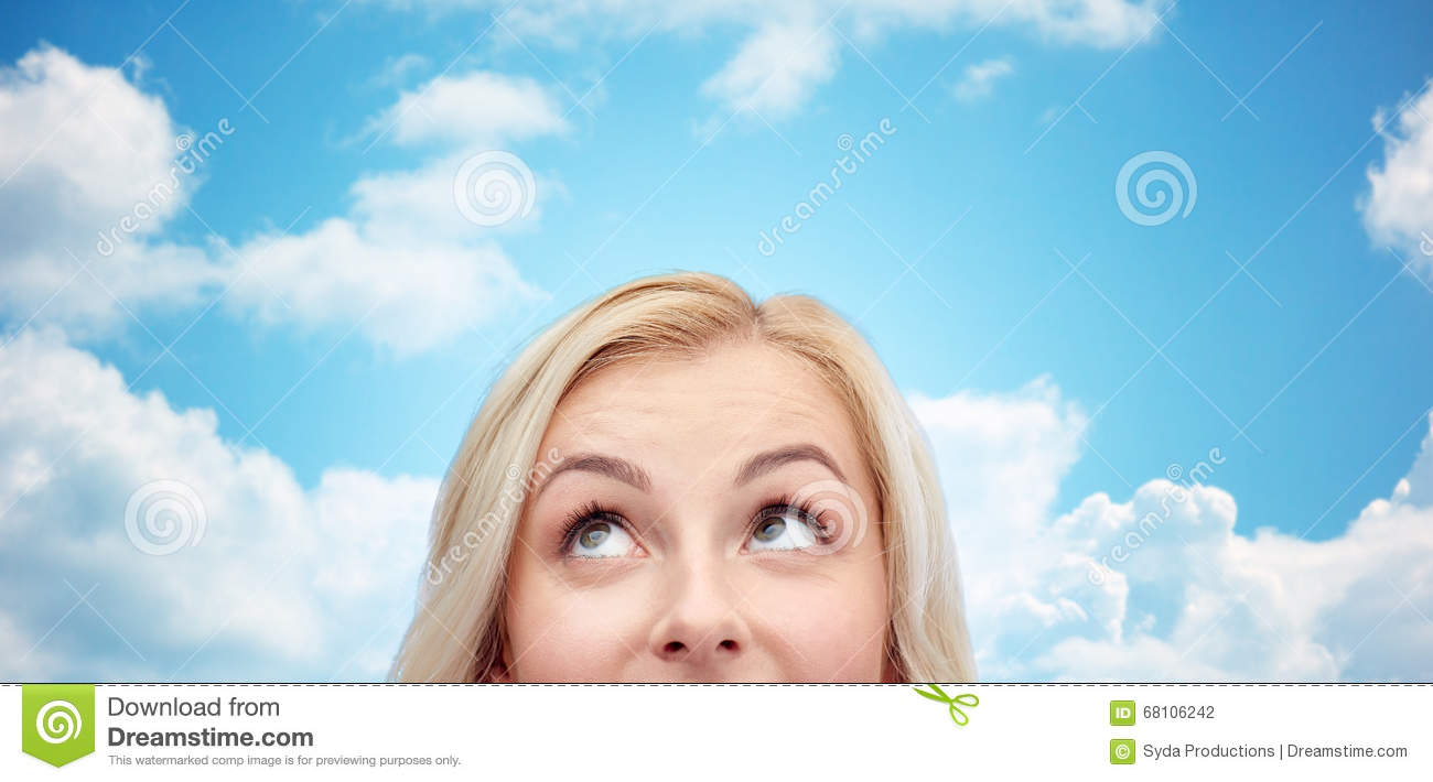 Happy Young Woman Or Teenage Girl Face Stock Photography ...