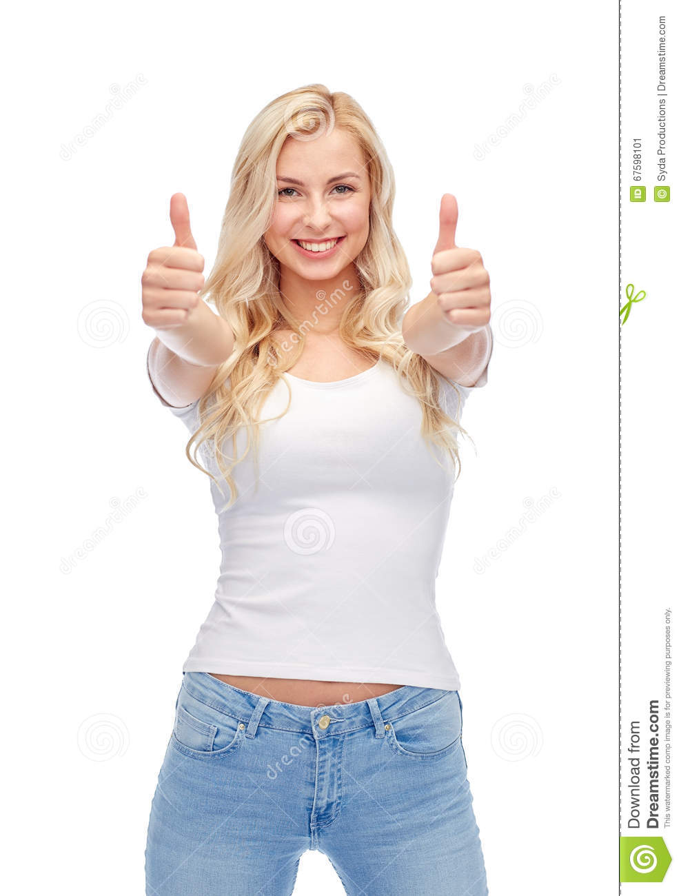 Happy young woman or teenage girl in white t-shirt