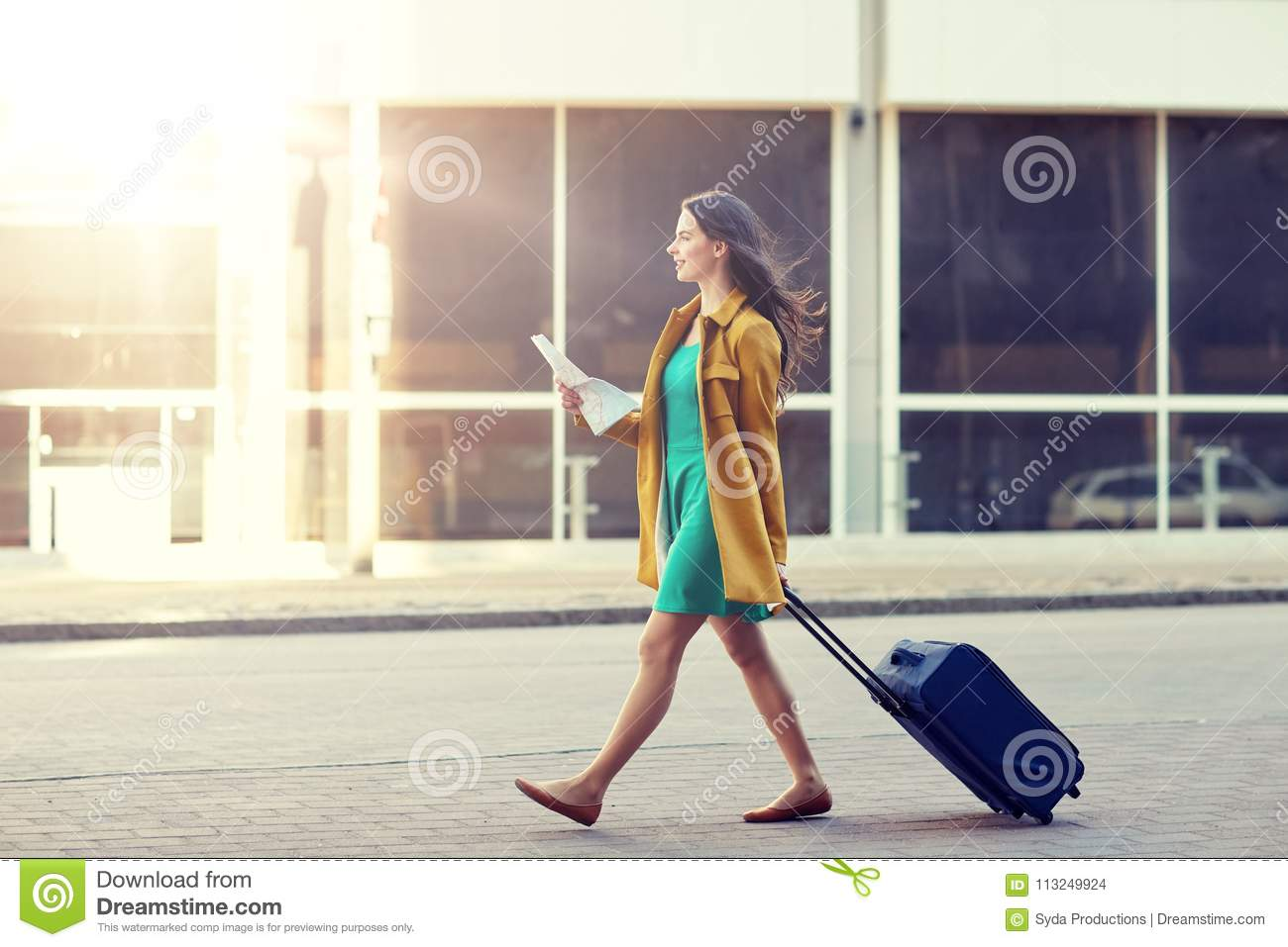 Happy Young Woman With Travel Bag And Map In City Stock Photo Vacum