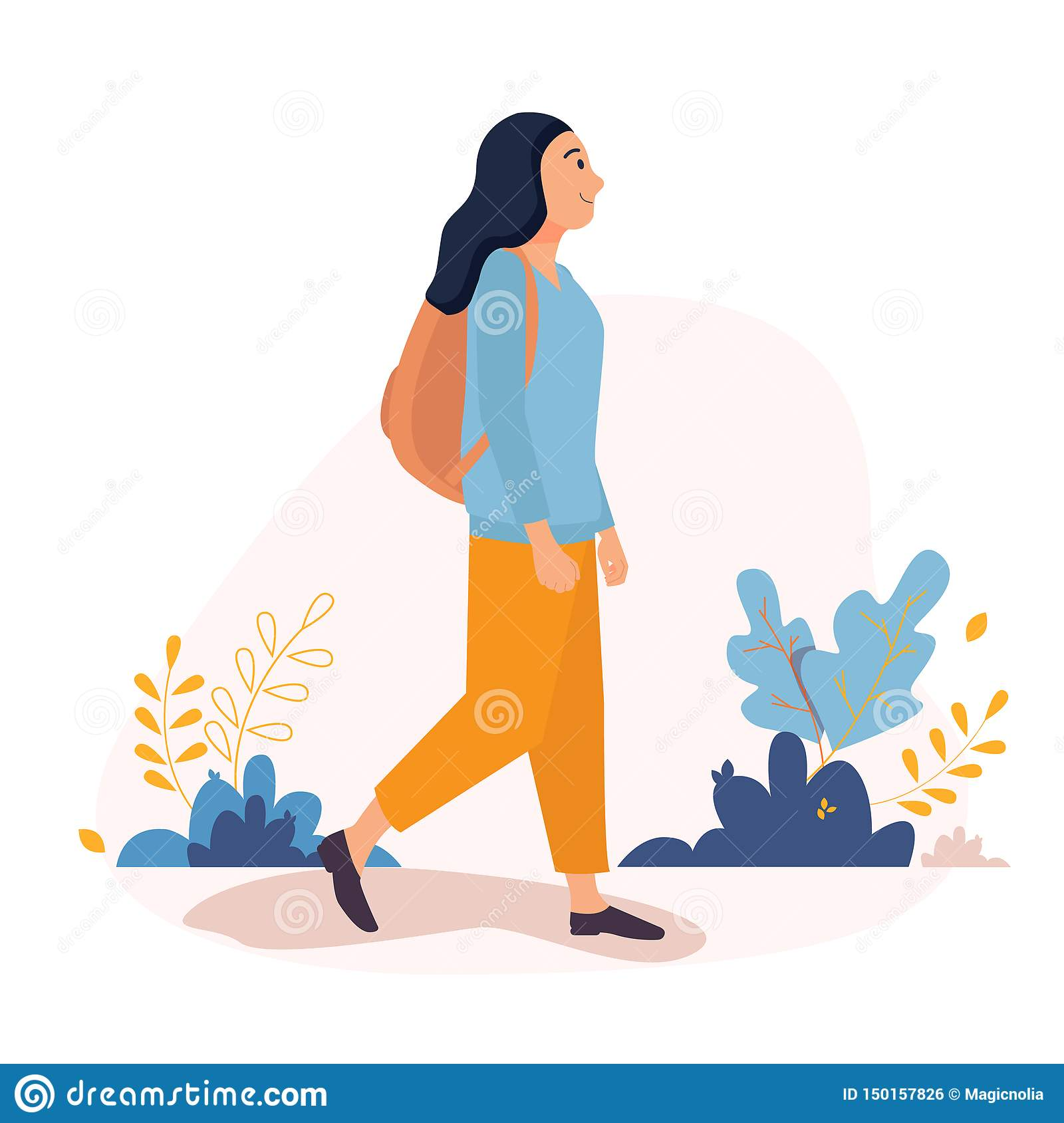 Happy Young Woman walking outside around the city with backpack. Vector character illustration in a flat style on a white