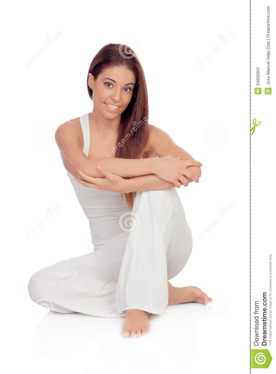 Happy young woman with white comfortable clothing sitting for How to sit comfortably on the floor