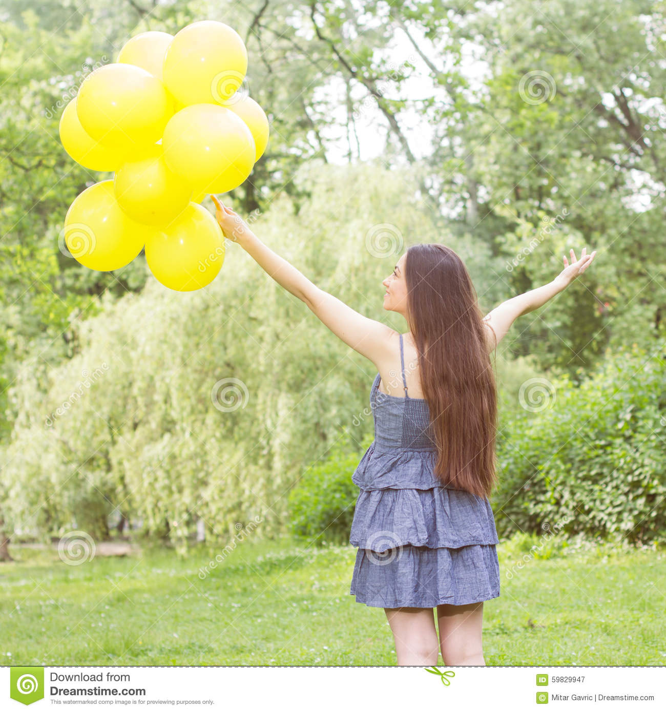 Happy Beautiful Woman Enjoying At Beach Stock Photo: Happy Young Woman With Yellow Balloons Stock Image
