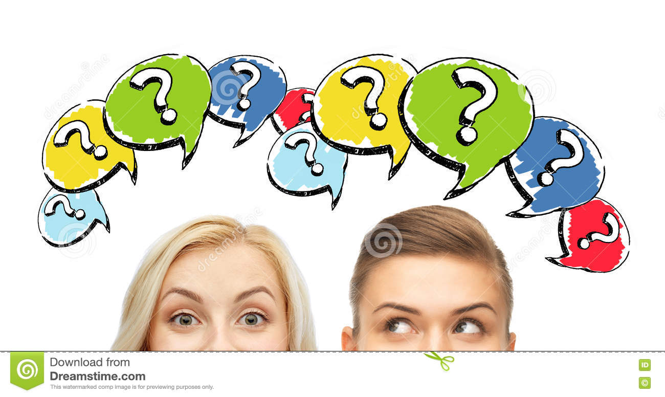 Happy Young Women Faces With Question Marks Stock
