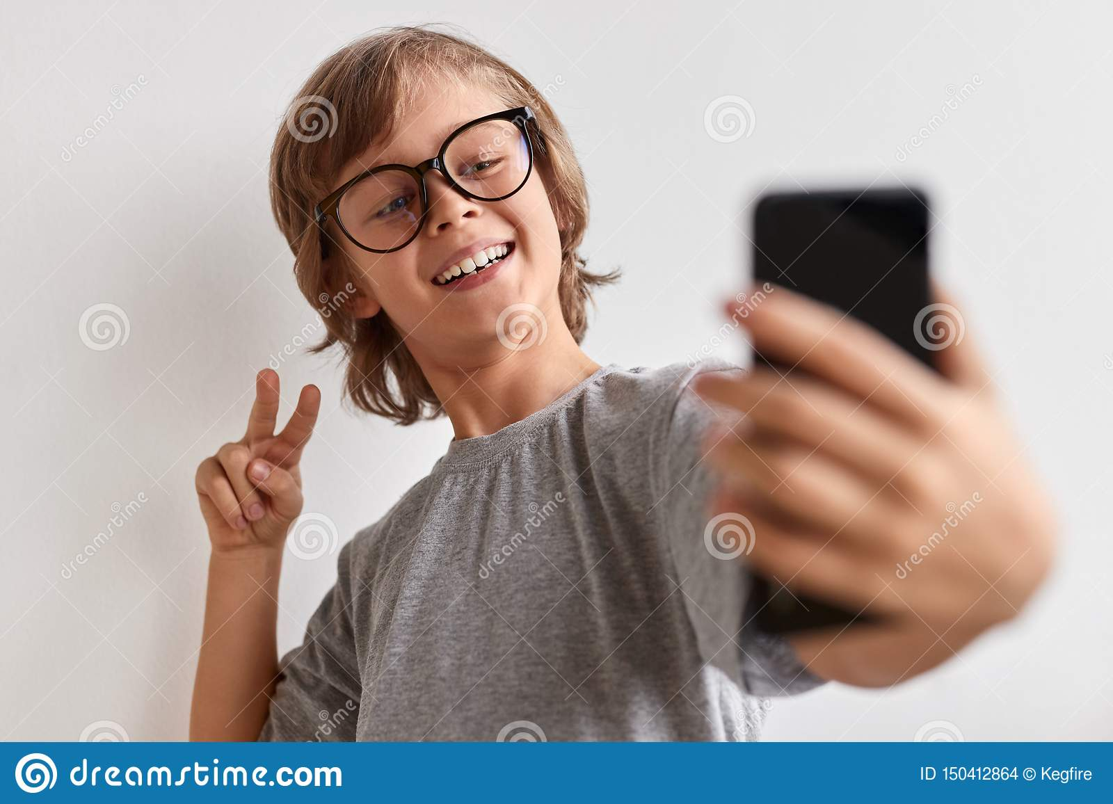 Happy Youngster Taking Selfie Stock Photo Image Of Happy Eyewear 150412864