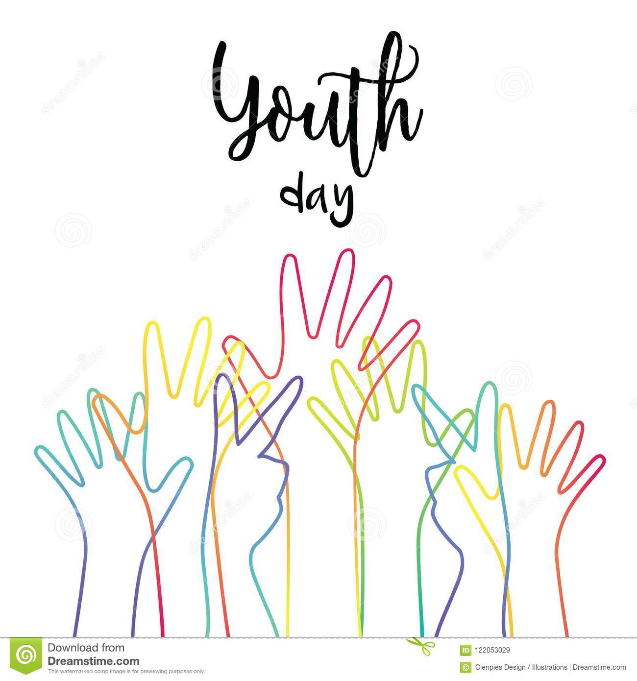 Youth day diverse teen hands greeting card stock vector download youth day diverse teen hands greeting card stock vector illustration of group greeting m4hsunfo