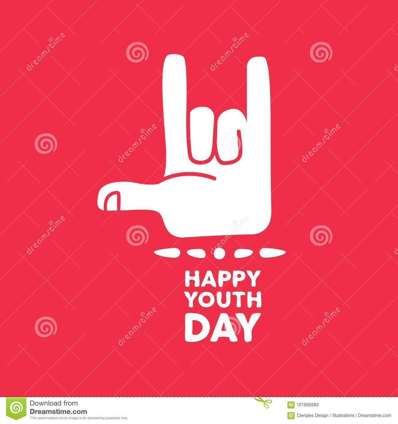 Happy Youth Day Rock Hand Sign Quote Card Stock Vector