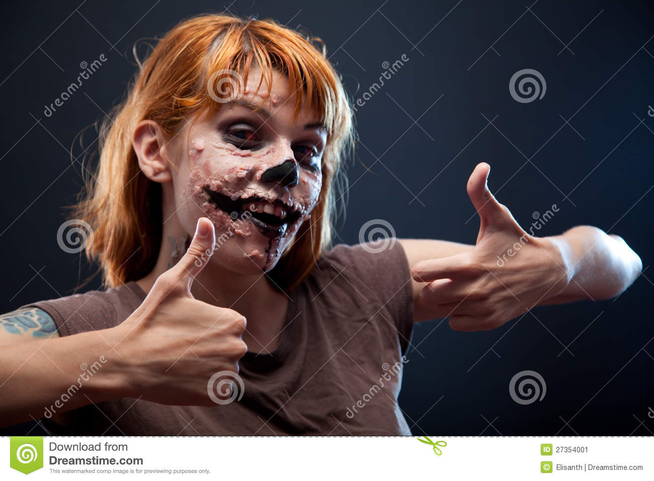 Happy Zombie Girl Showing Thumbs Up Stock Image Image Of