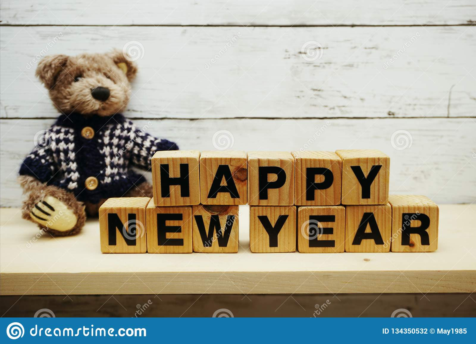 Happy New Year Alphabet Letters On Wooden Background Stock ...