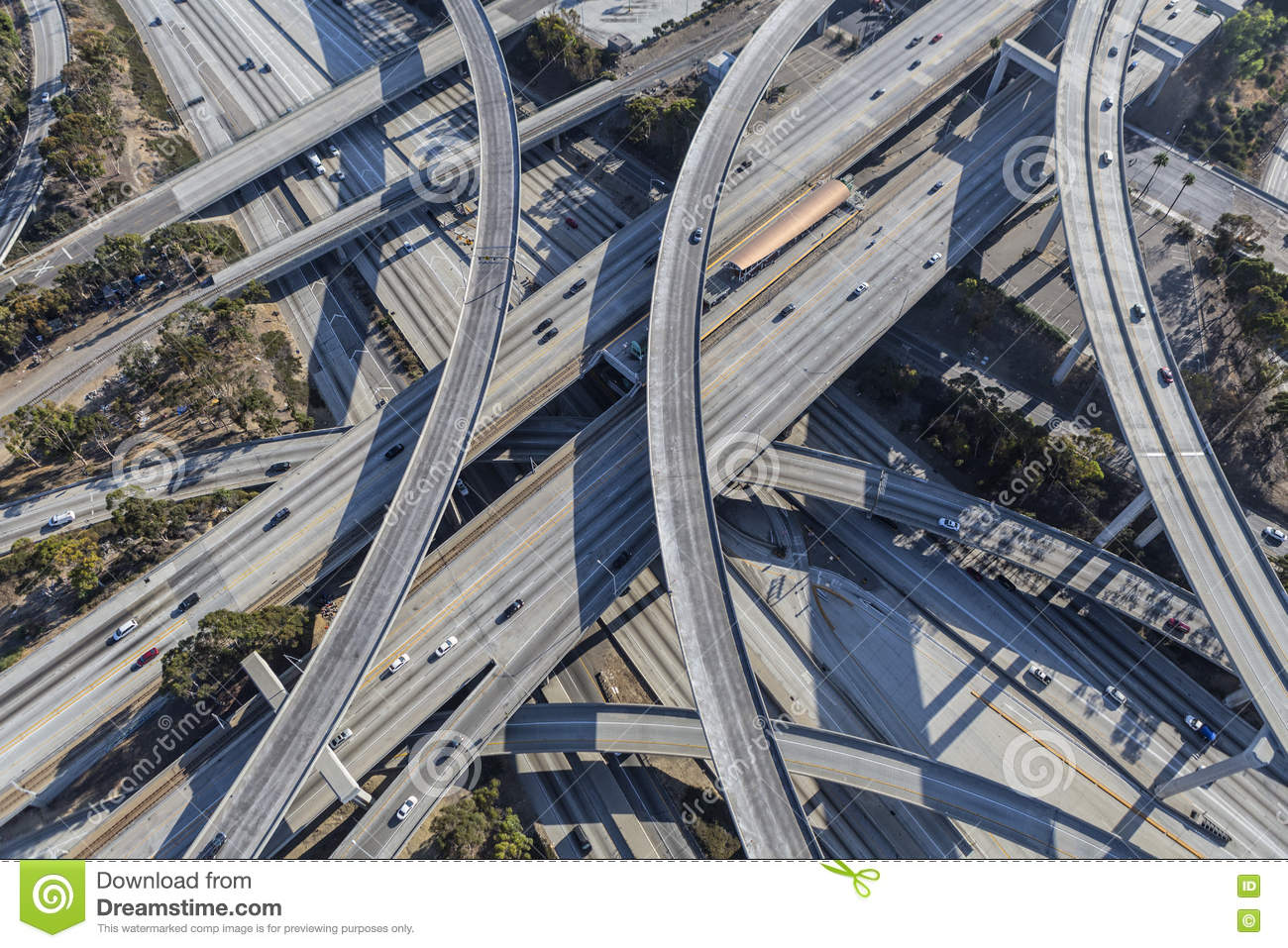 Harbor And Century Freeway Interchange In Los Angeles Stock
