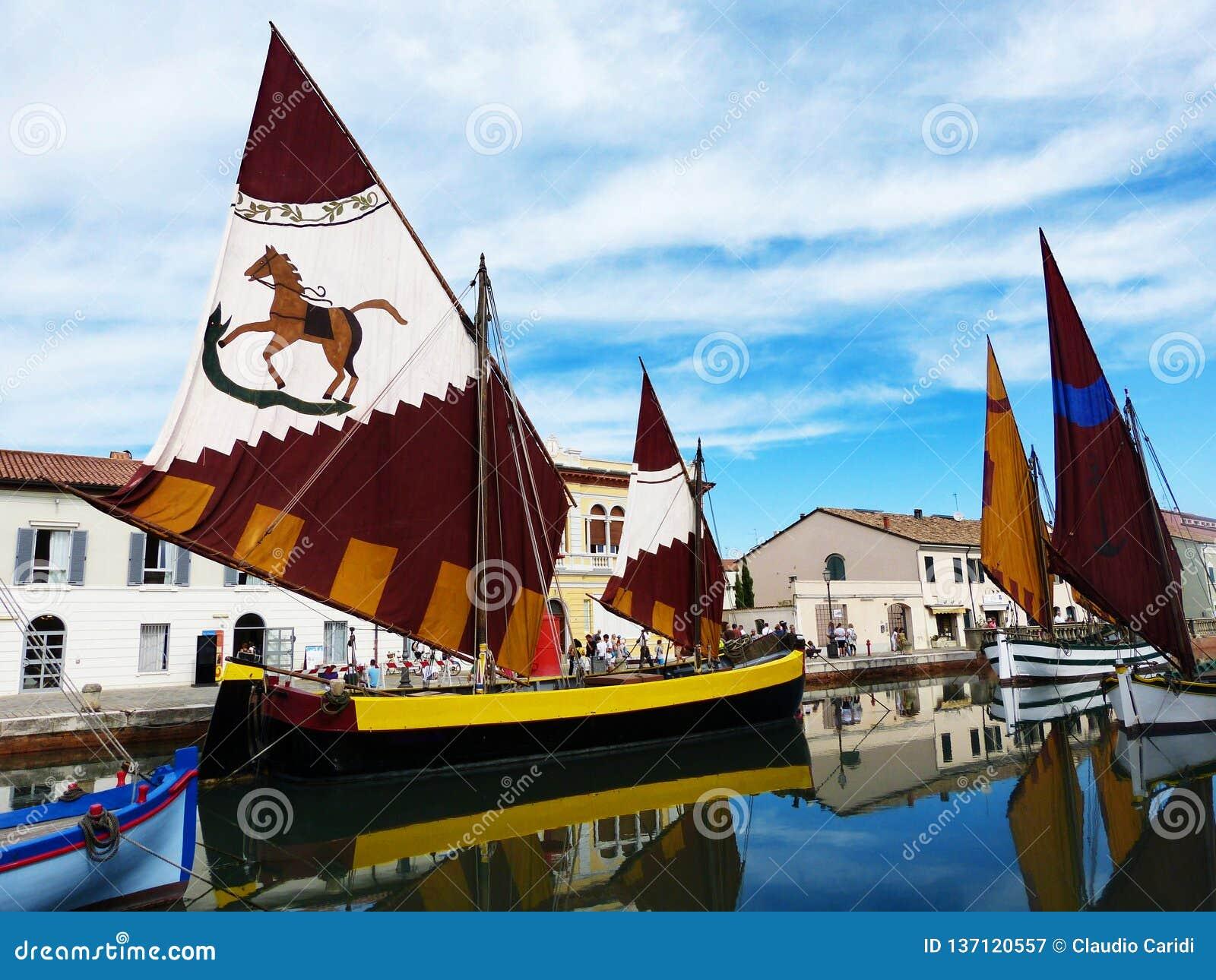 Harbor channel Leonardesque, traditional sailboats, Cesenatico, Italy