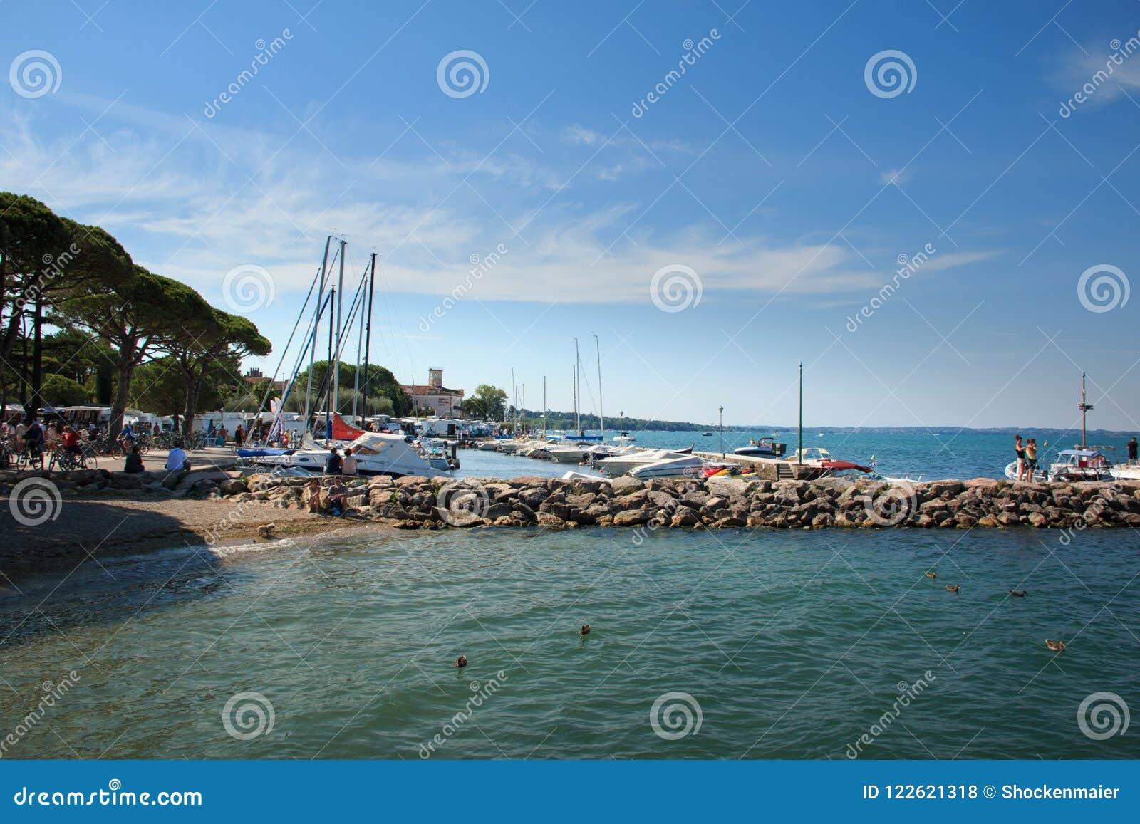Harbor in Lazise on Lake Garda, Italy