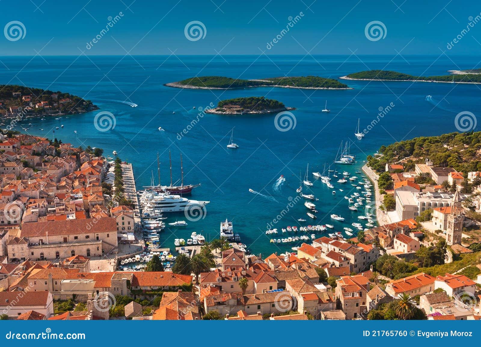 Harbor of old Adriatic island town Hvar