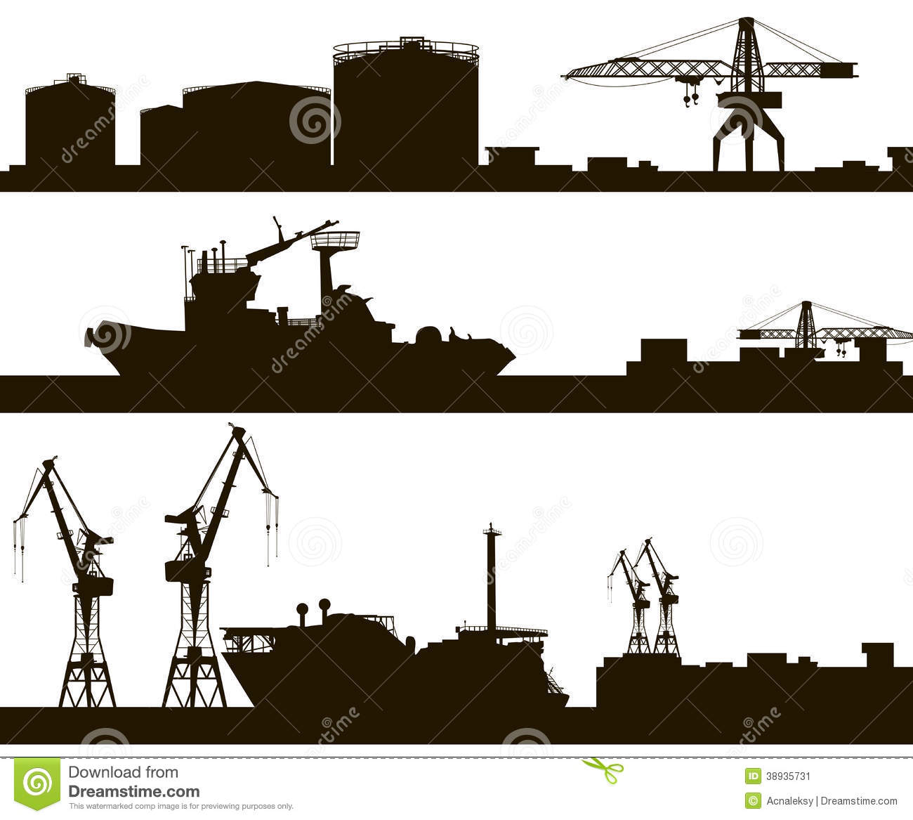 Harbor Skyline Silhouette Stock Vector Image 38935731
