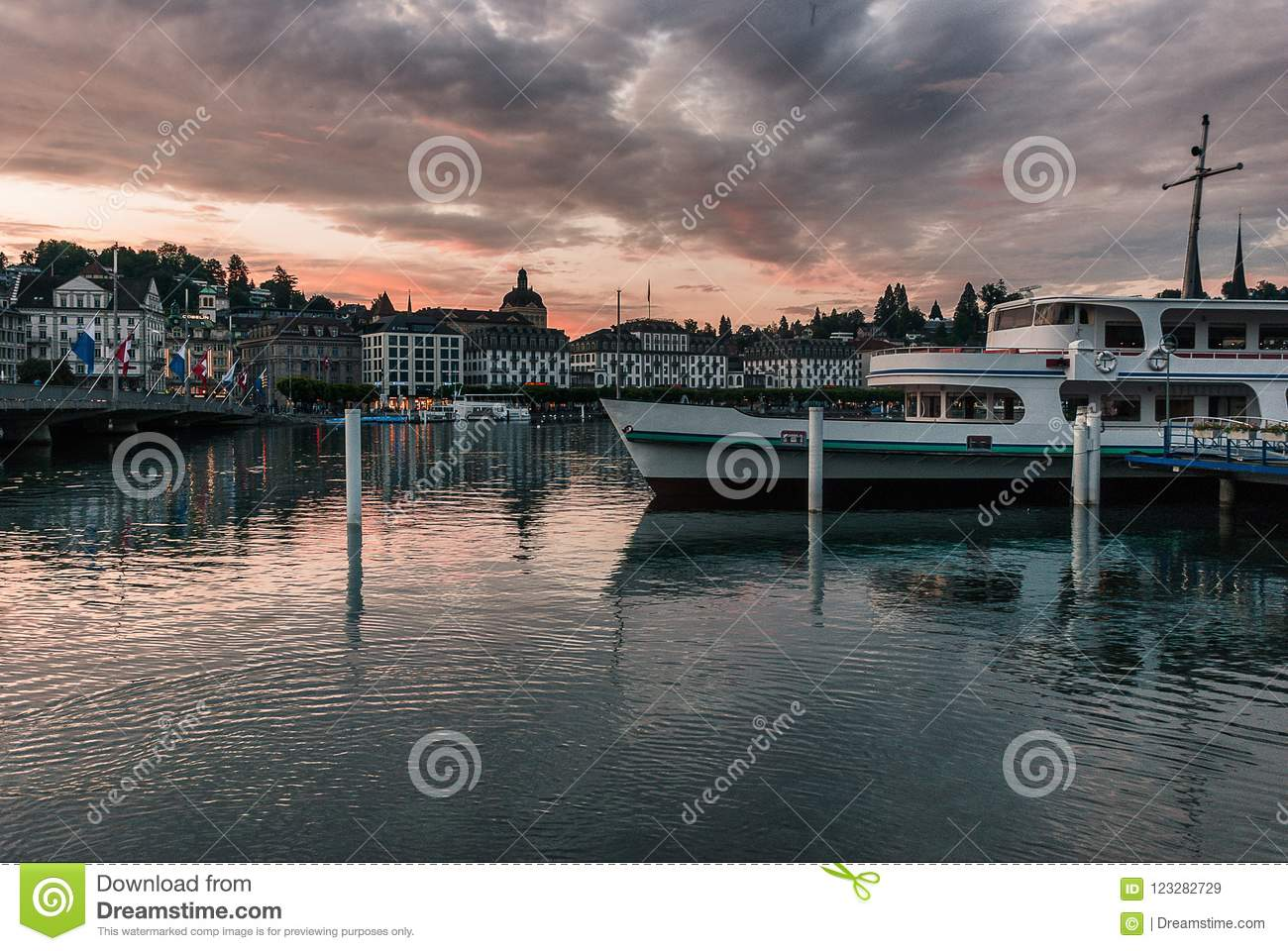 Harbor view from next to the train station in beautiful Luzern Lucerne Switzerland.