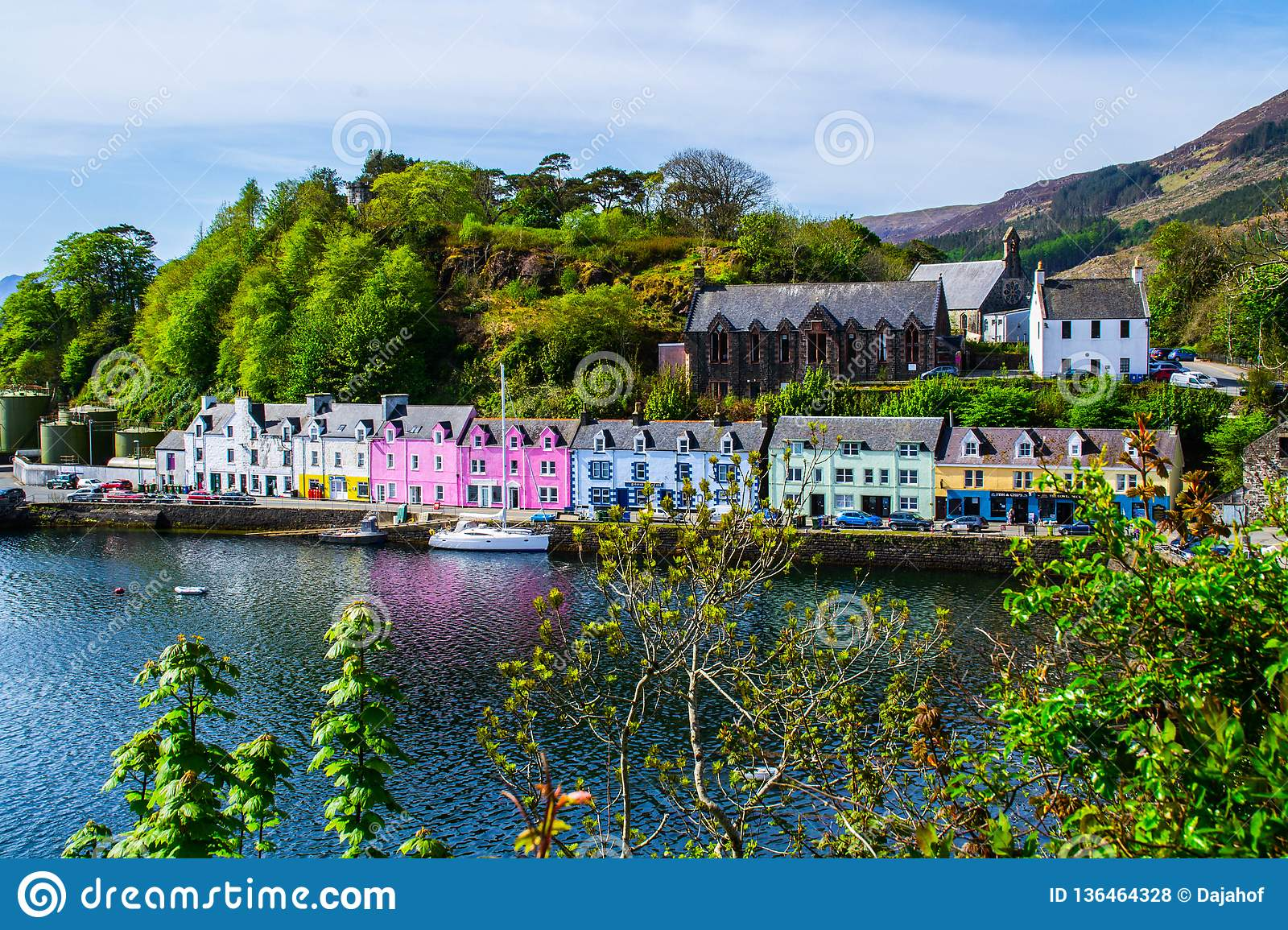 Harbour and colorful building in Potree, Isle Of Skye, Scotland