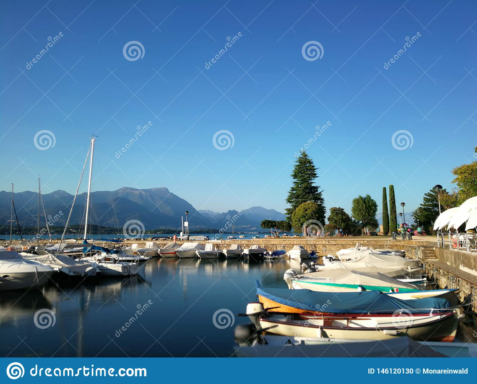 Harbour on Garda lake in italy on summer.