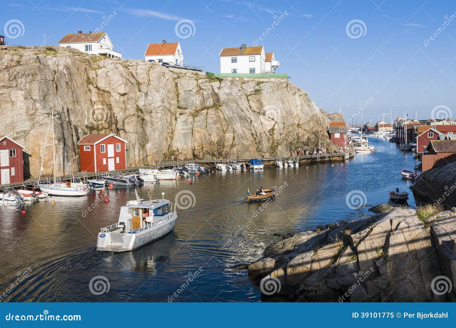 harbour with lots of pleasureboats in smogen swedish smögen smögen ...