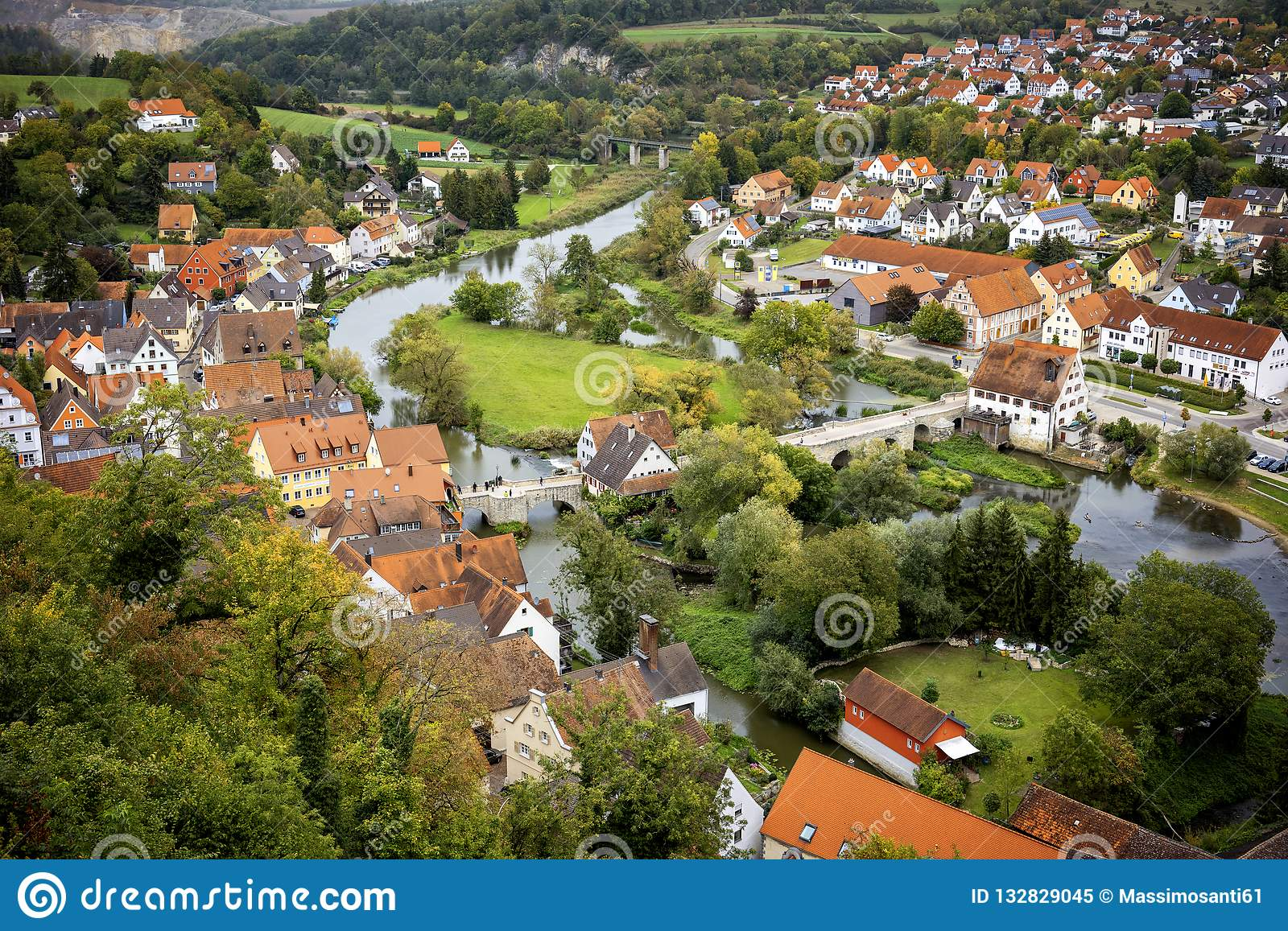 Harburg: View from the Harburg Castle. It is a part of the scenic route called `Romantic Road`. Bavaria, Germany.