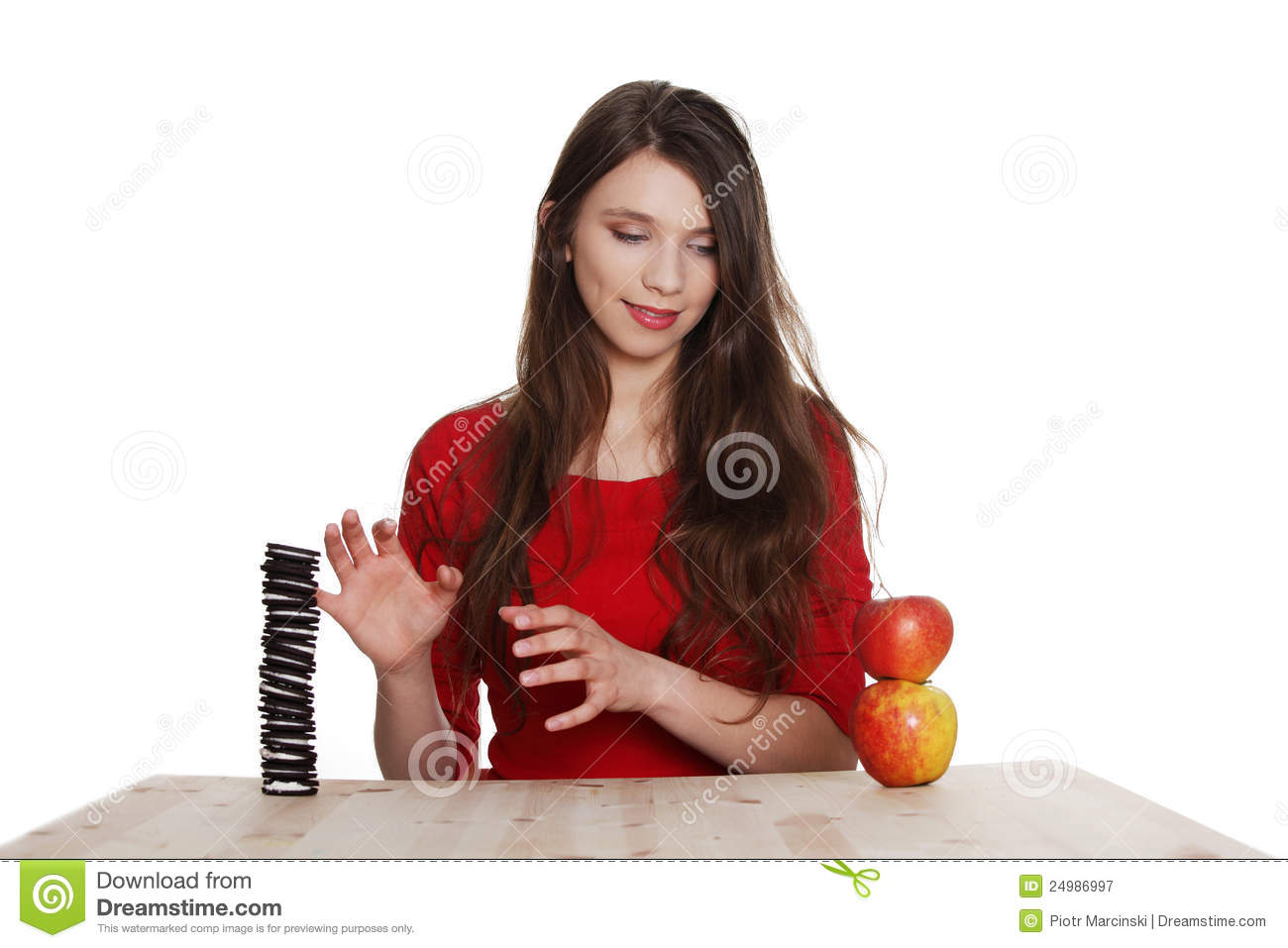 Download Hard Choice. Girl Does Not Know What To Eat Stock Image - Image of eyes, decision: 24986997