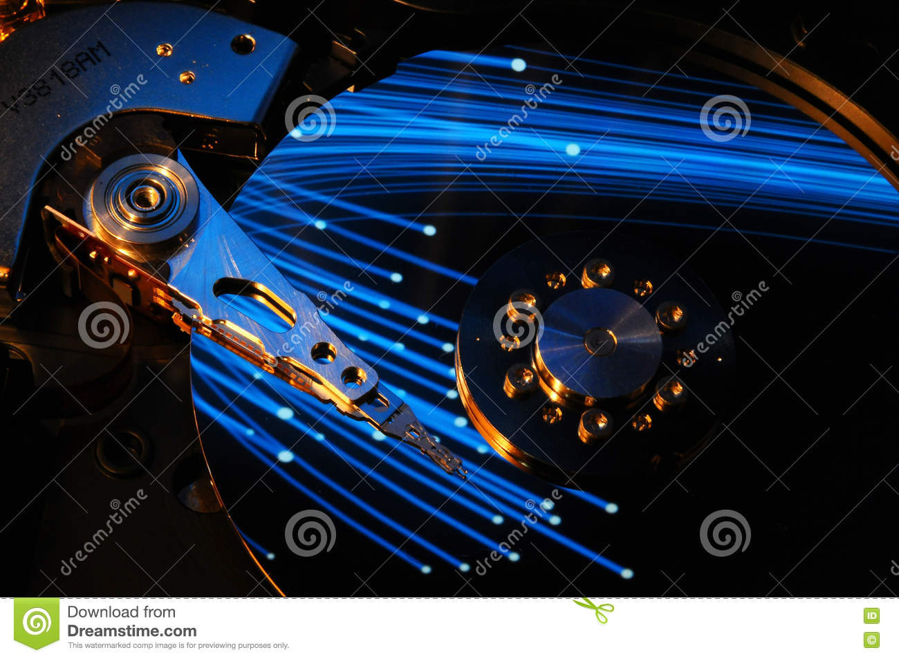 Hard Disk Drive With Abstract Color Reflection Stock Photo