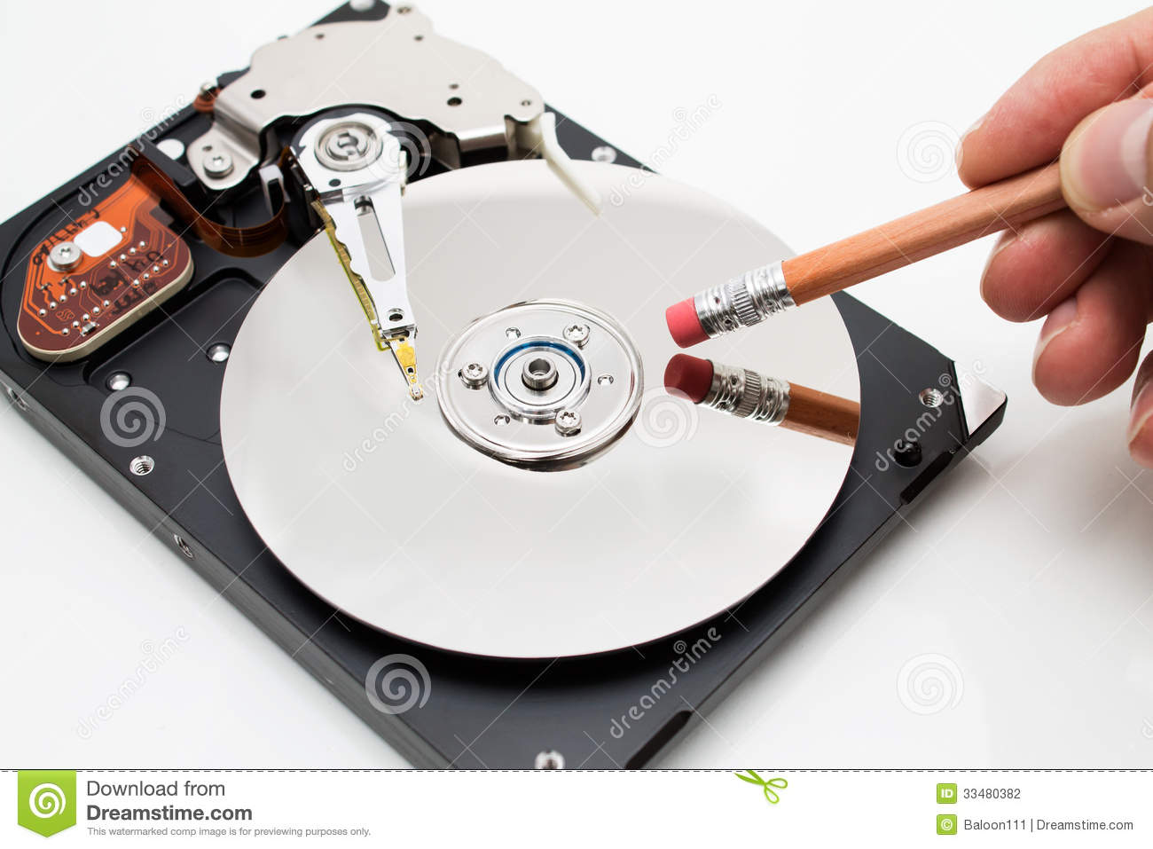 Hard Disk Drive Data Erase Metaphor Stock Photography - Image ...