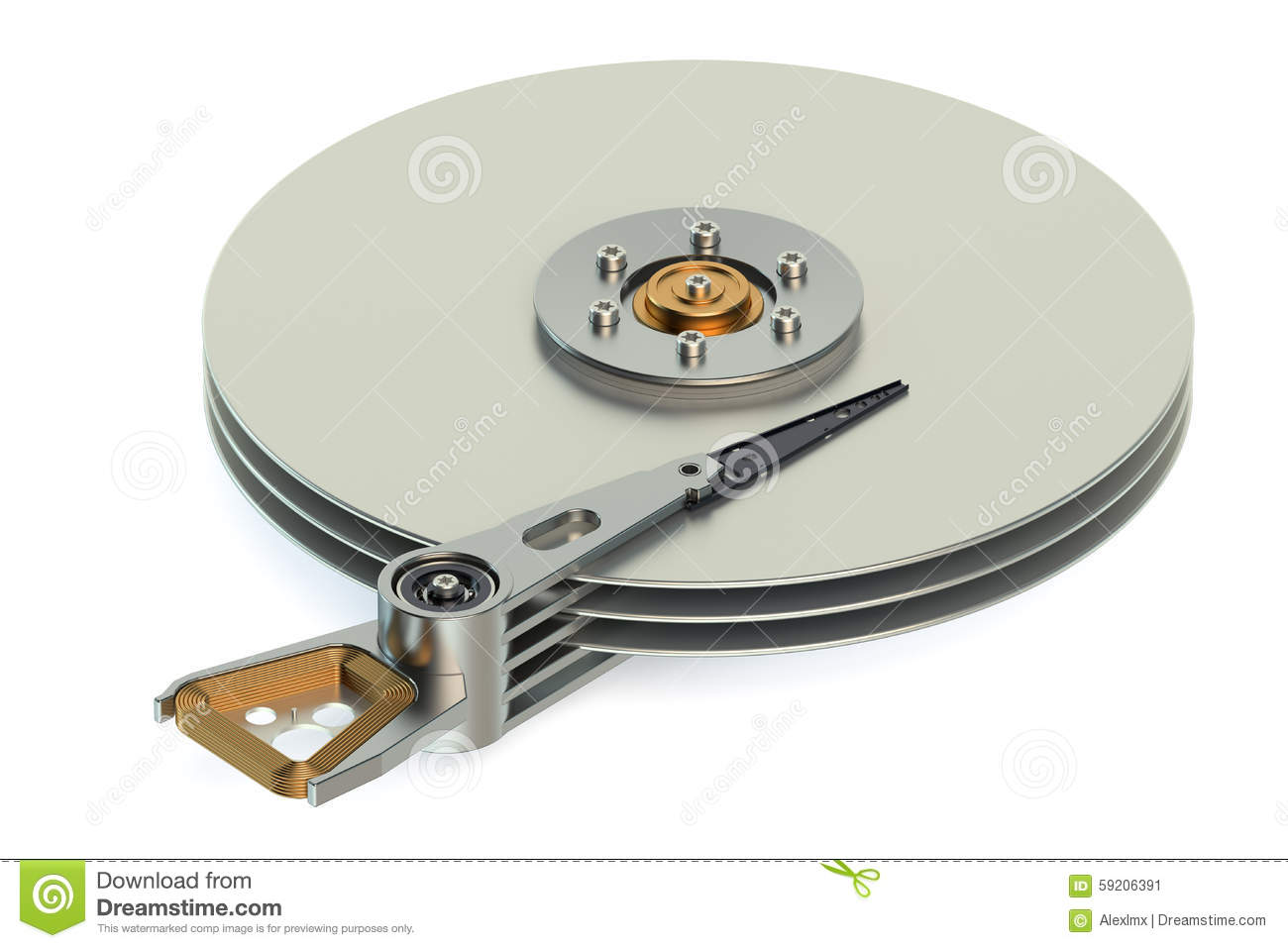 Hard Disk Drive Hdd View Inside Stock Illustration
