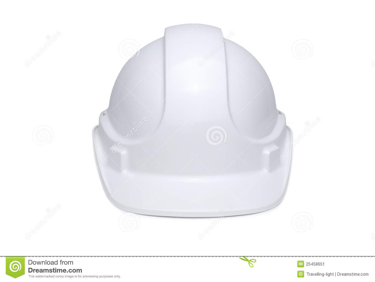 White hard hat isolated on white background with soft shadow under ...