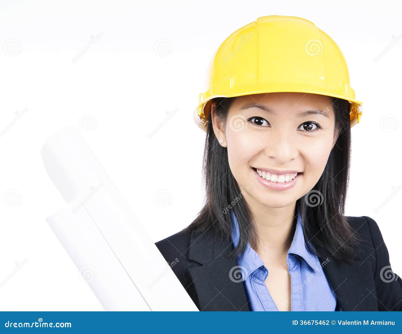 Hard Hat Architect Woman Stock Photography Image 36675462