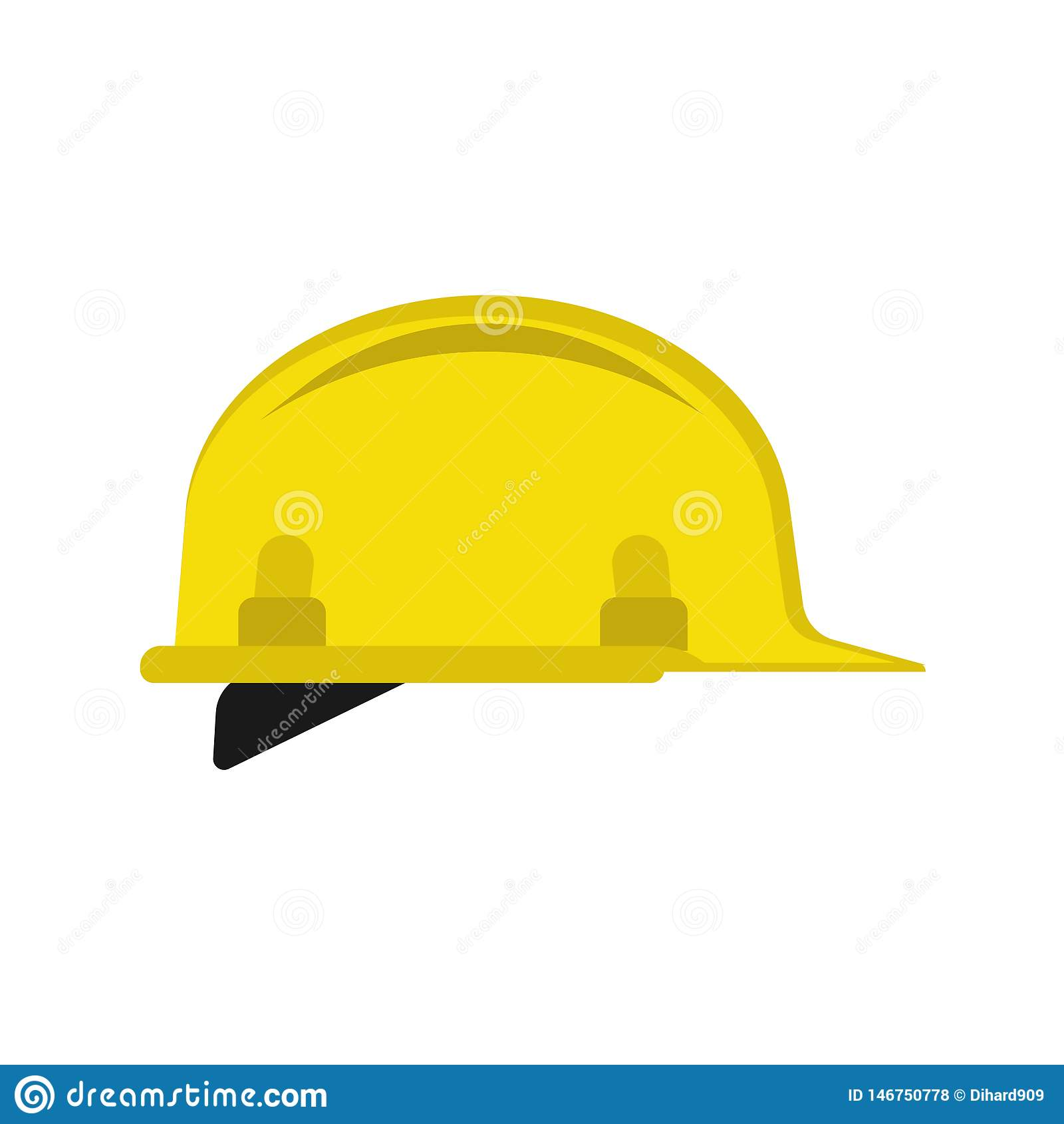 Hard hat flat unifrom engineering construction repair vector icon. Yellow safety cap equipment symbol plastic tool