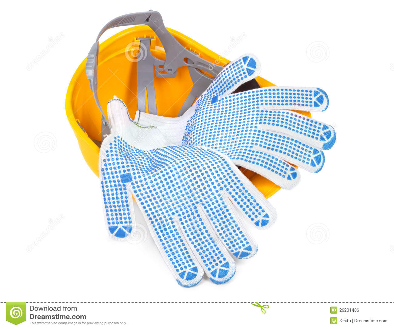 Hard Hat Upside Down And Gloves Stock Photo Image Of Safe Yellow