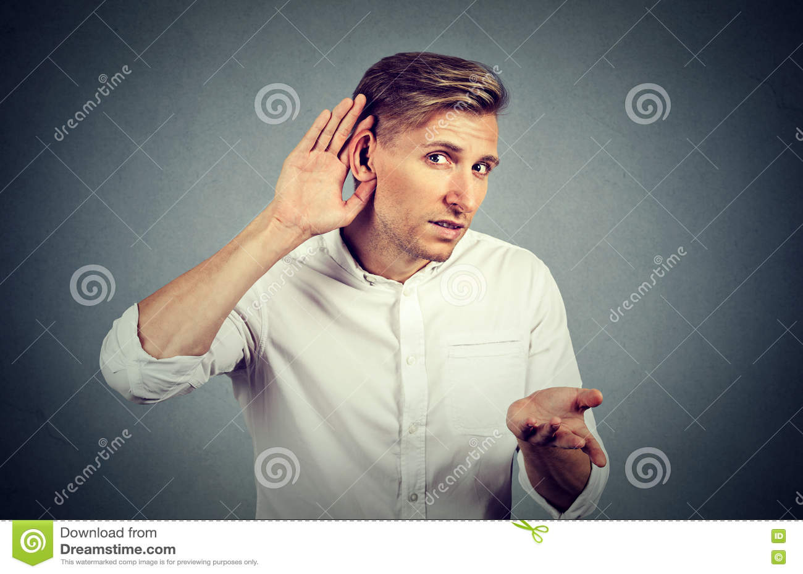 Hard of hearing man asking someone to speak up