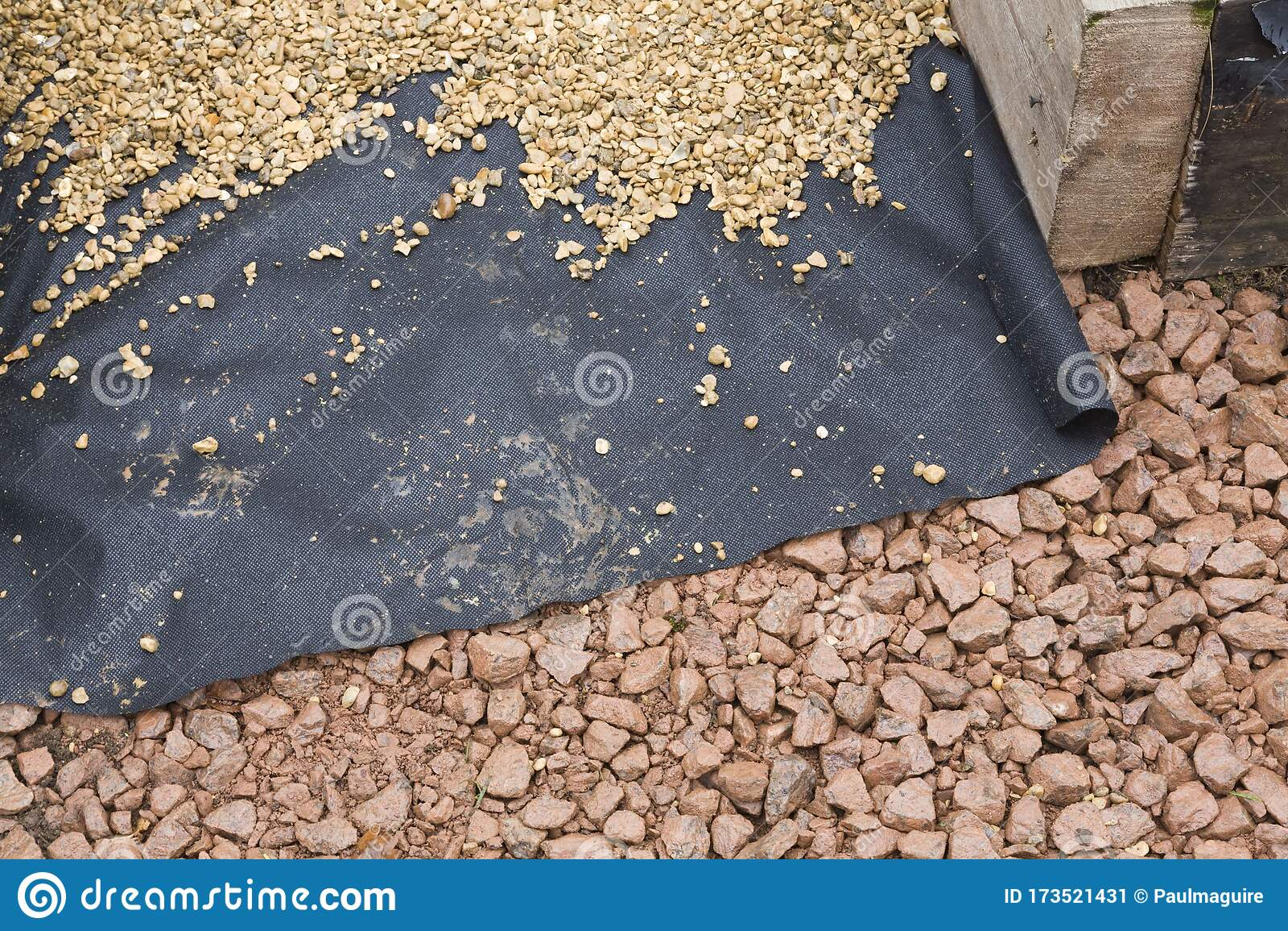 Hard Landscaping Materials Laying Gravel Path Uk Stock Image