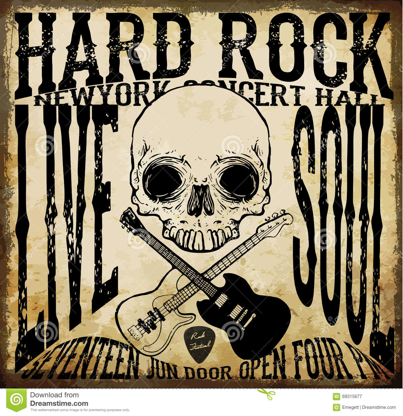 Hard Rock Vector Acoustic Guitar Icon Stock Vector Image