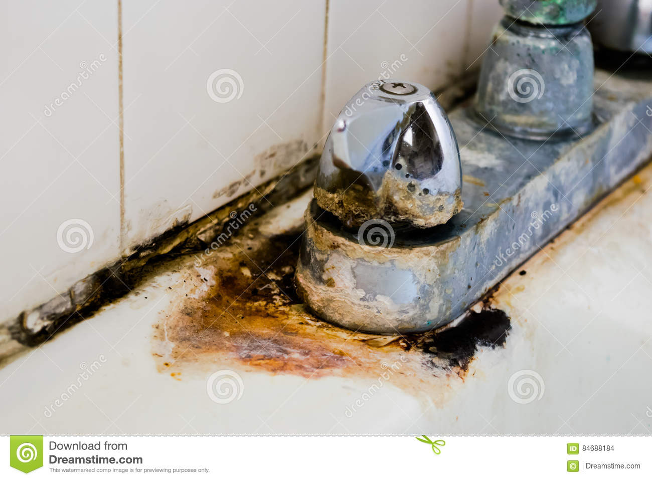 Hard Water Deposit And Rust On Chrome Faucet Stock Photo - Image of ...