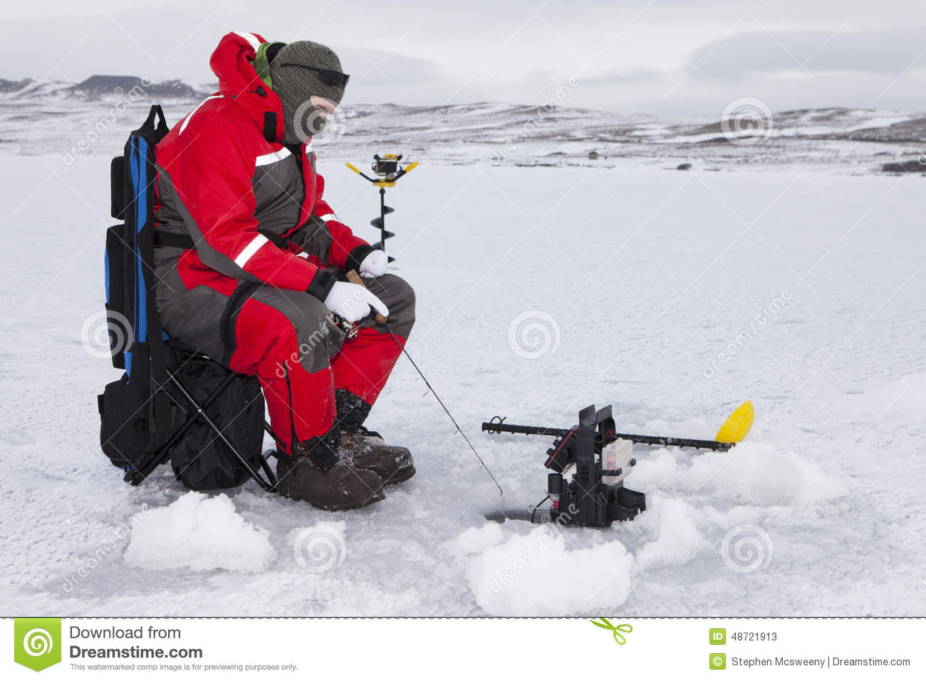 Hard Water Fishing Stock Photo