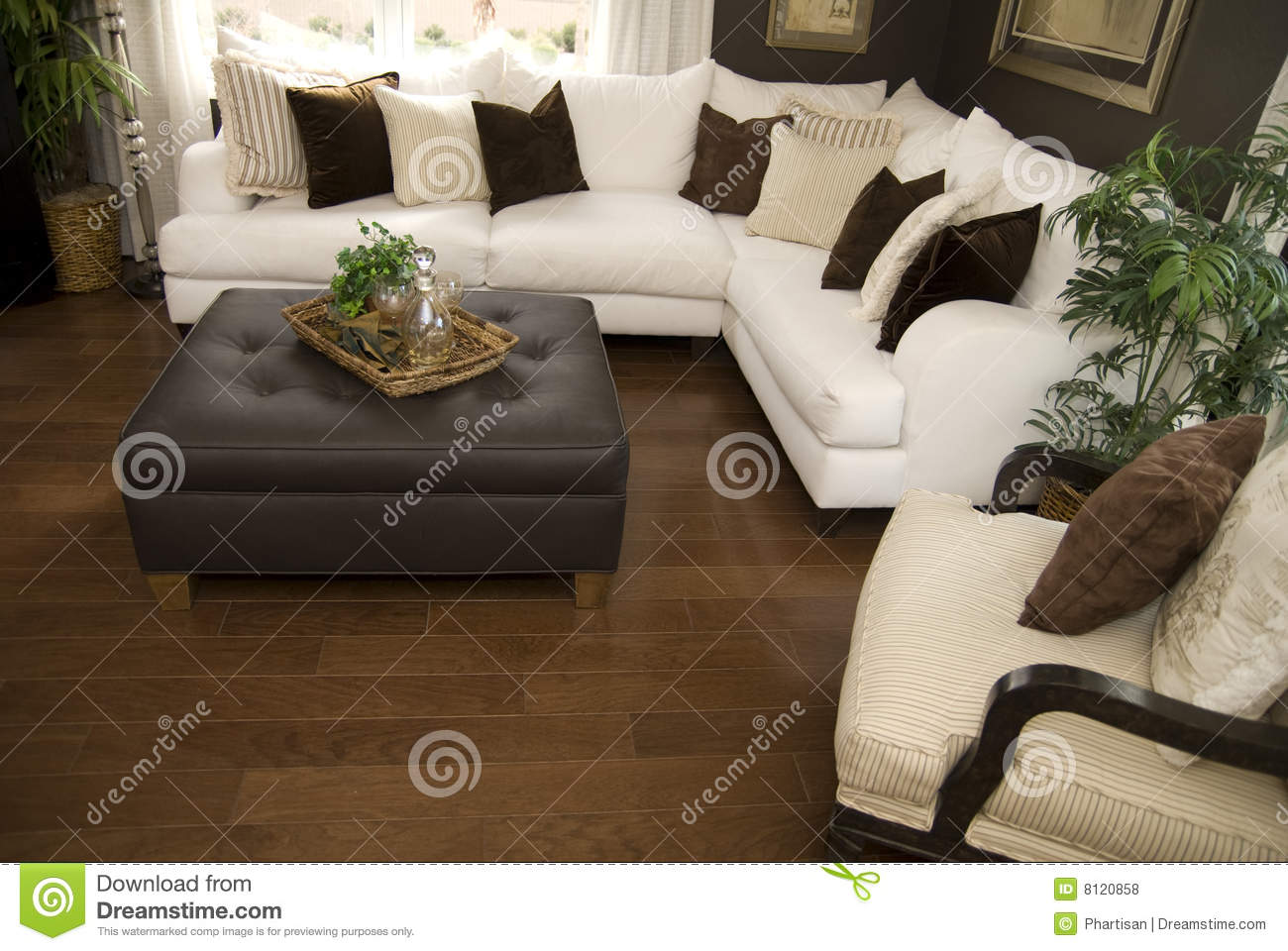 Hard Wood Flooring In Living Room Area Royalty Free Stock Photos ...