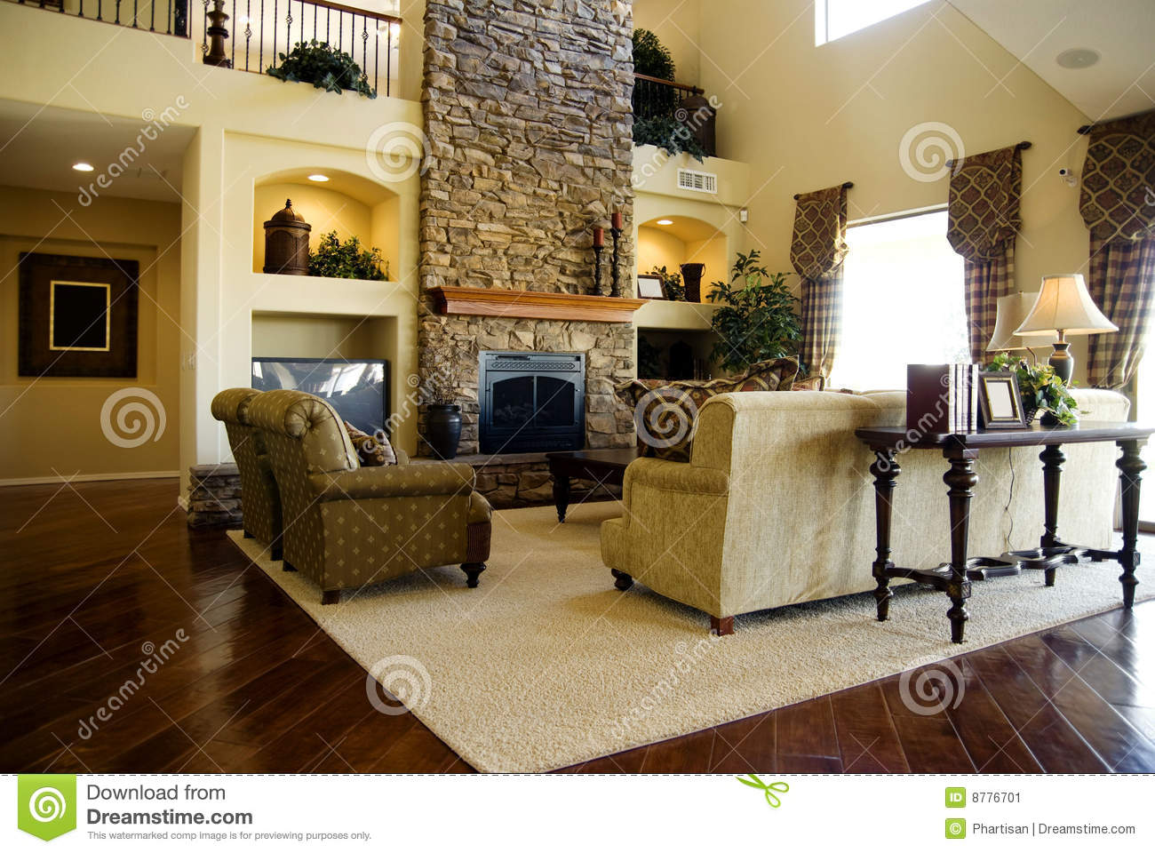 Hard Wood Flooring In Living Room Area Stock Image