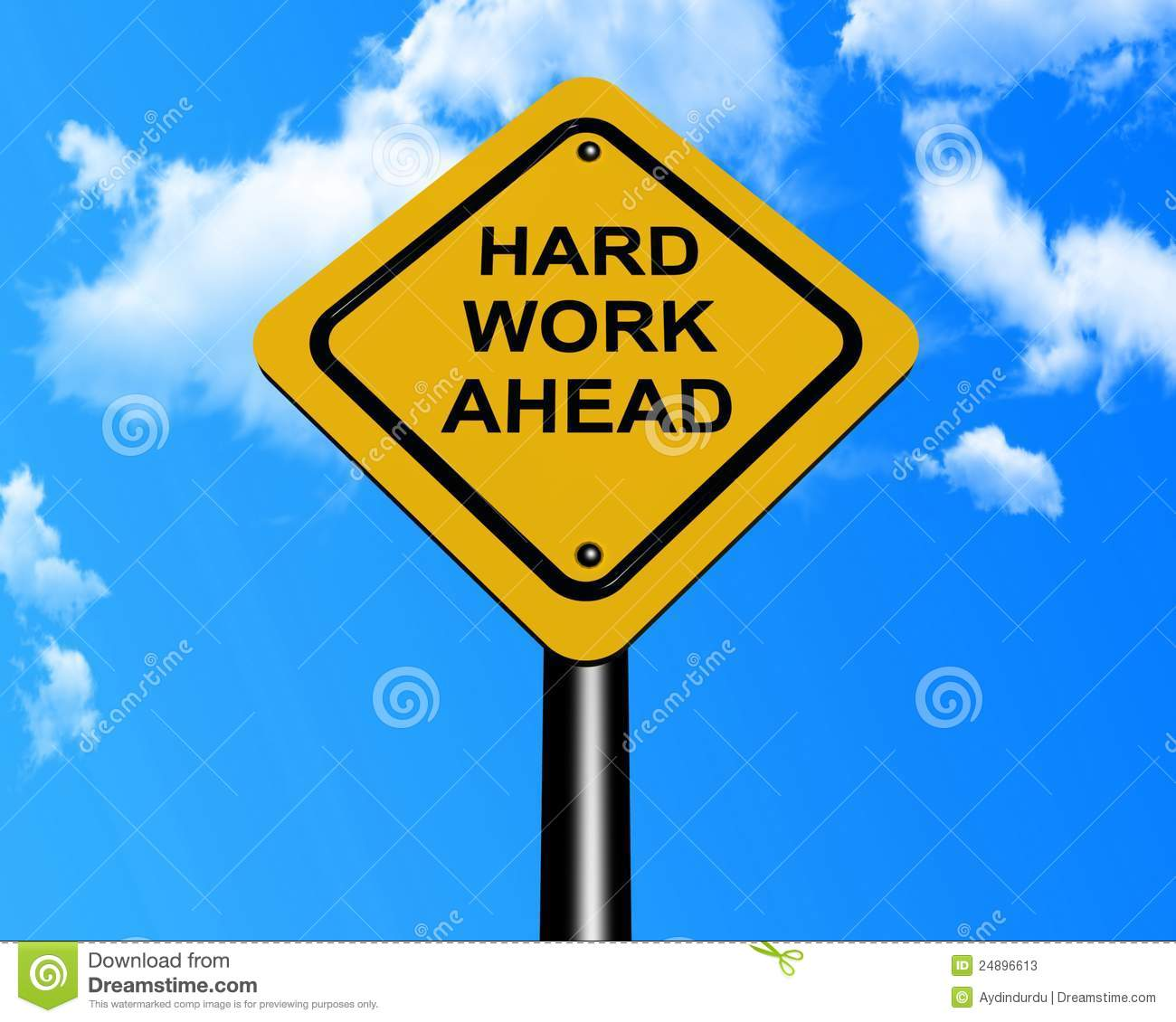 hard work ahead sign stock image image of yellow ahead. Black Bedroom Furniture Sets. Home Design Ideas