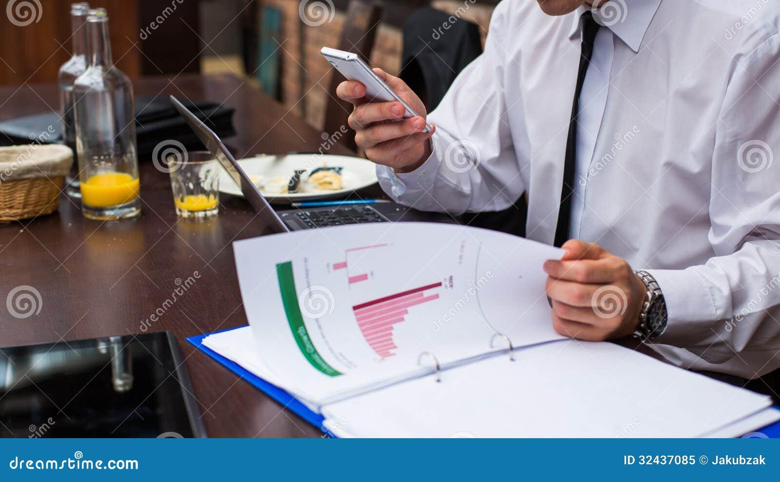 Hard Working Businessman In Restaurant. Royalty Free Stock ...
