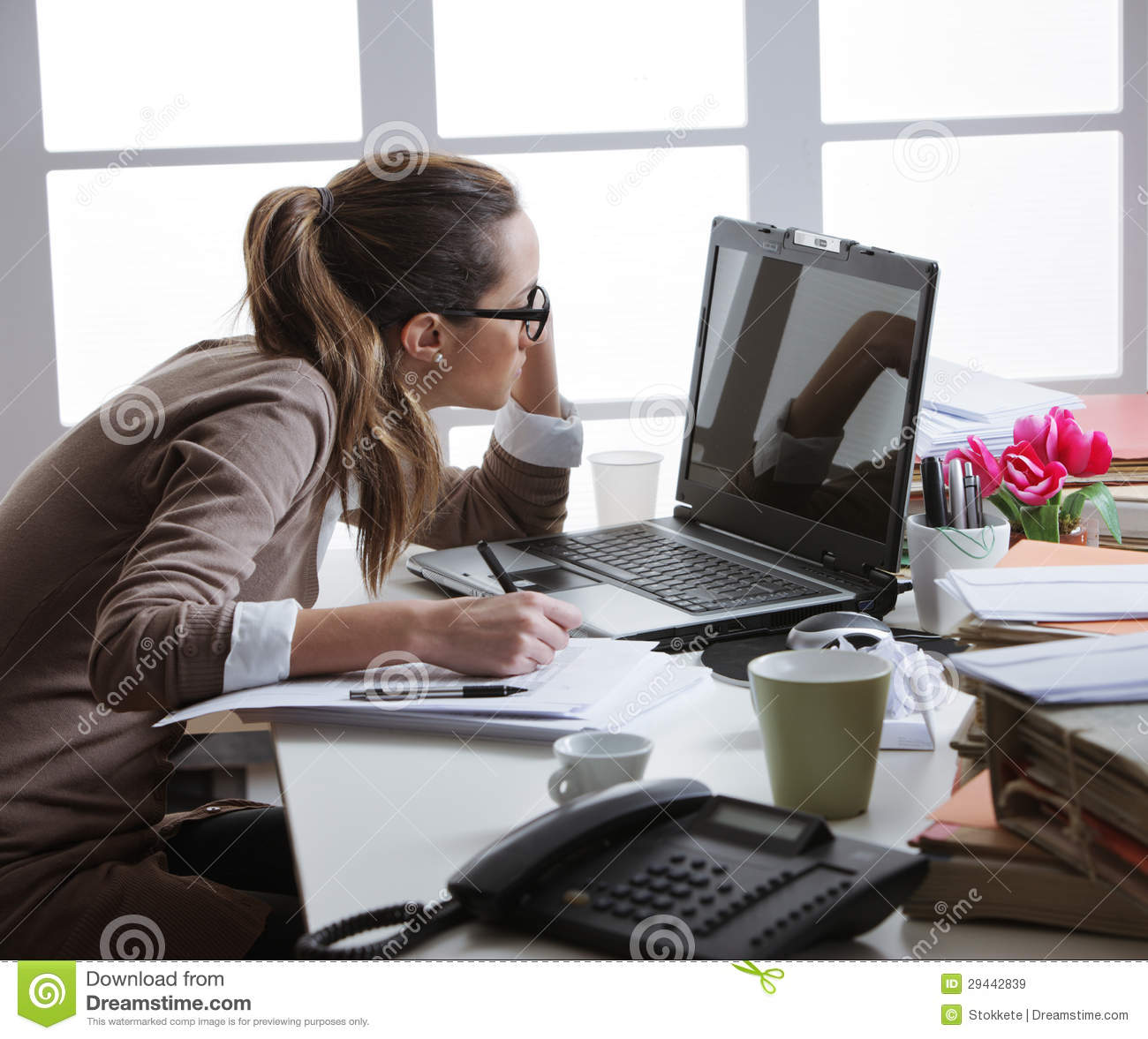 Hard Working Woman With Office Files Stock Image