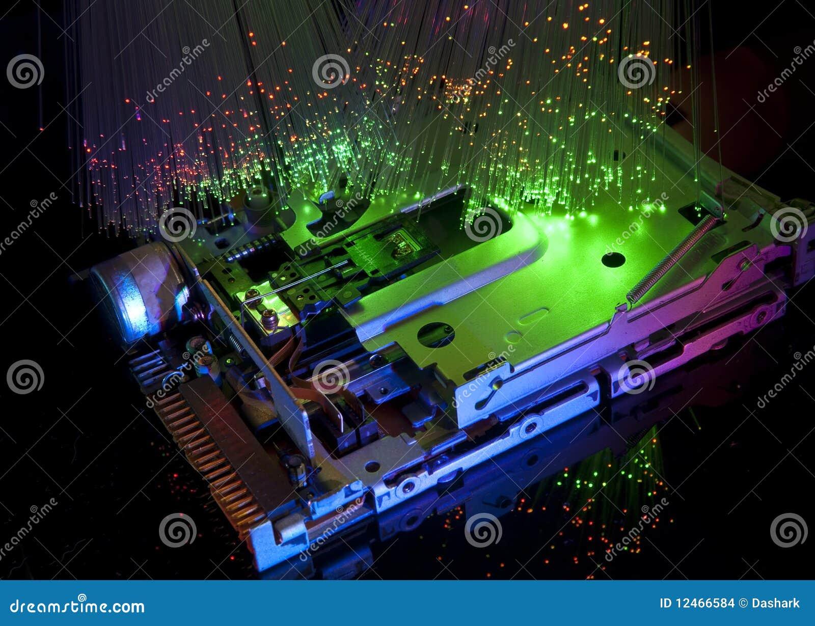 Harddisk with fiber optical background